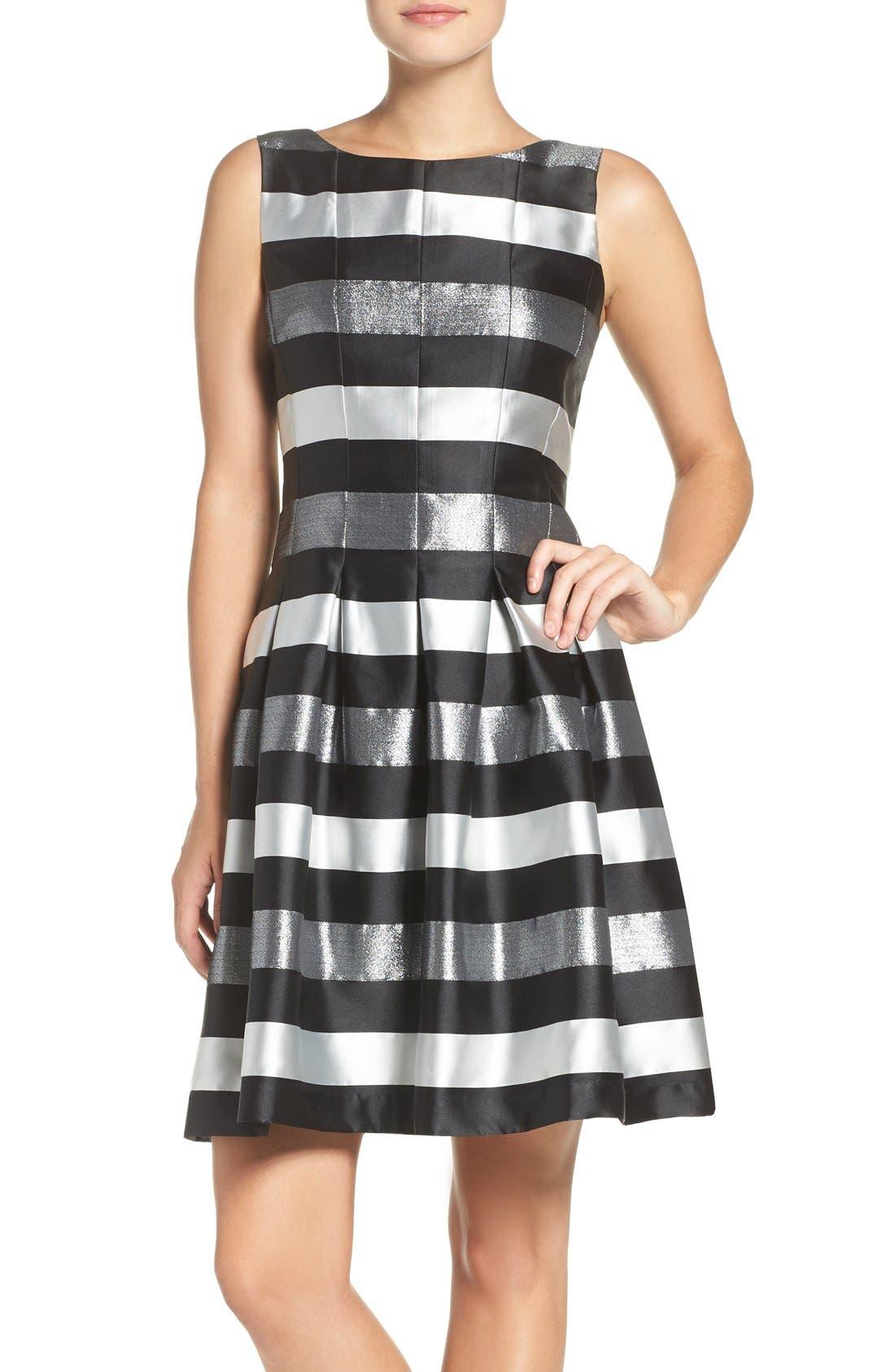 CHETTA B Stripe Metallic Woven Fit & Flare