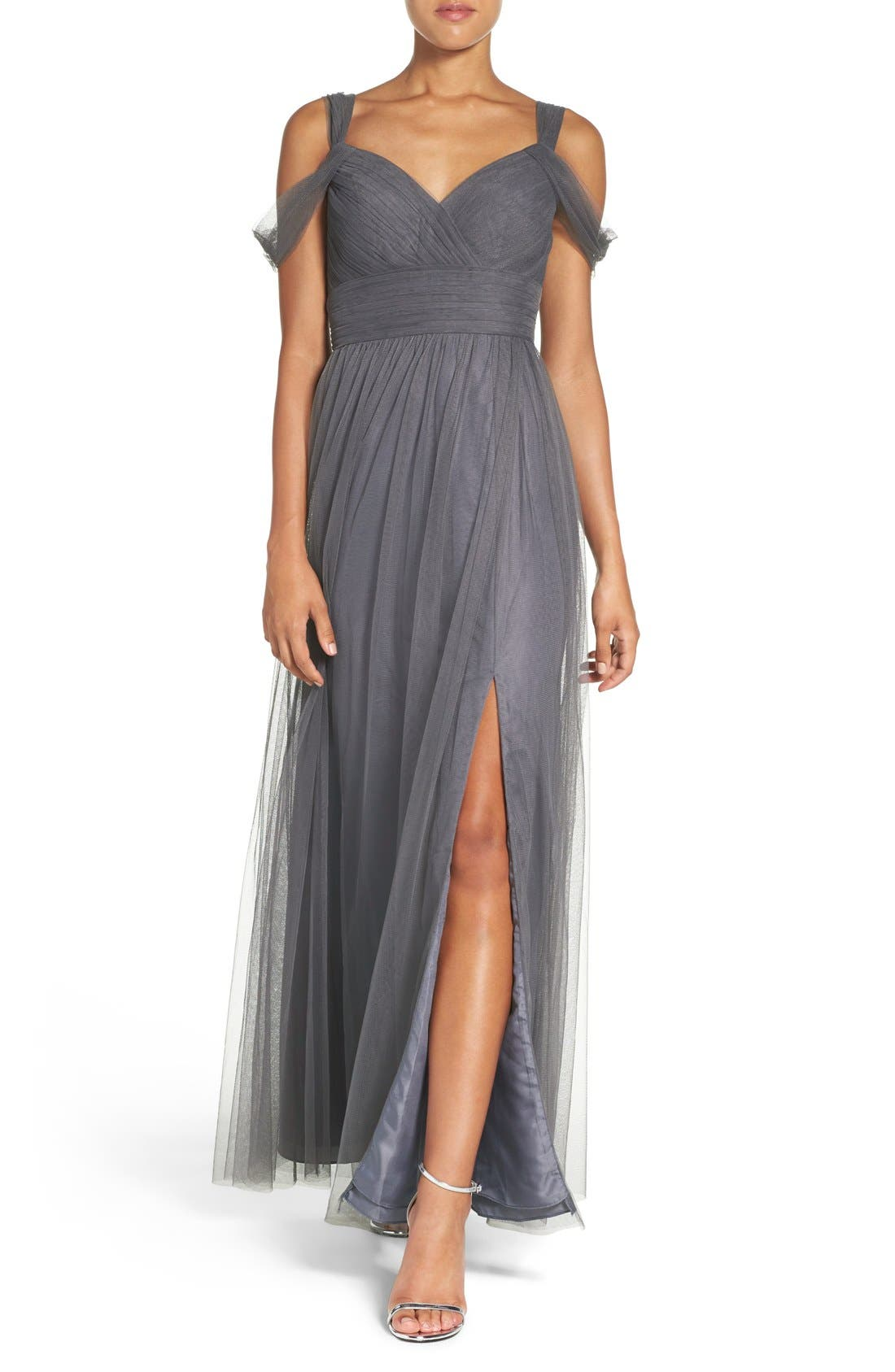 Watters 'Gladiola' Off the Shoulder Tulle A-Line Gown