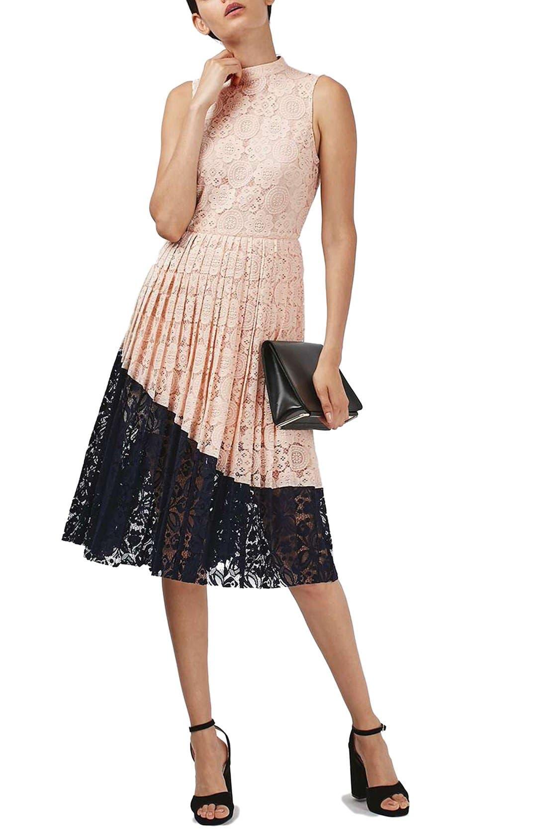 Main Image - Topshop Colorblock Pleated Lace Midi Dress