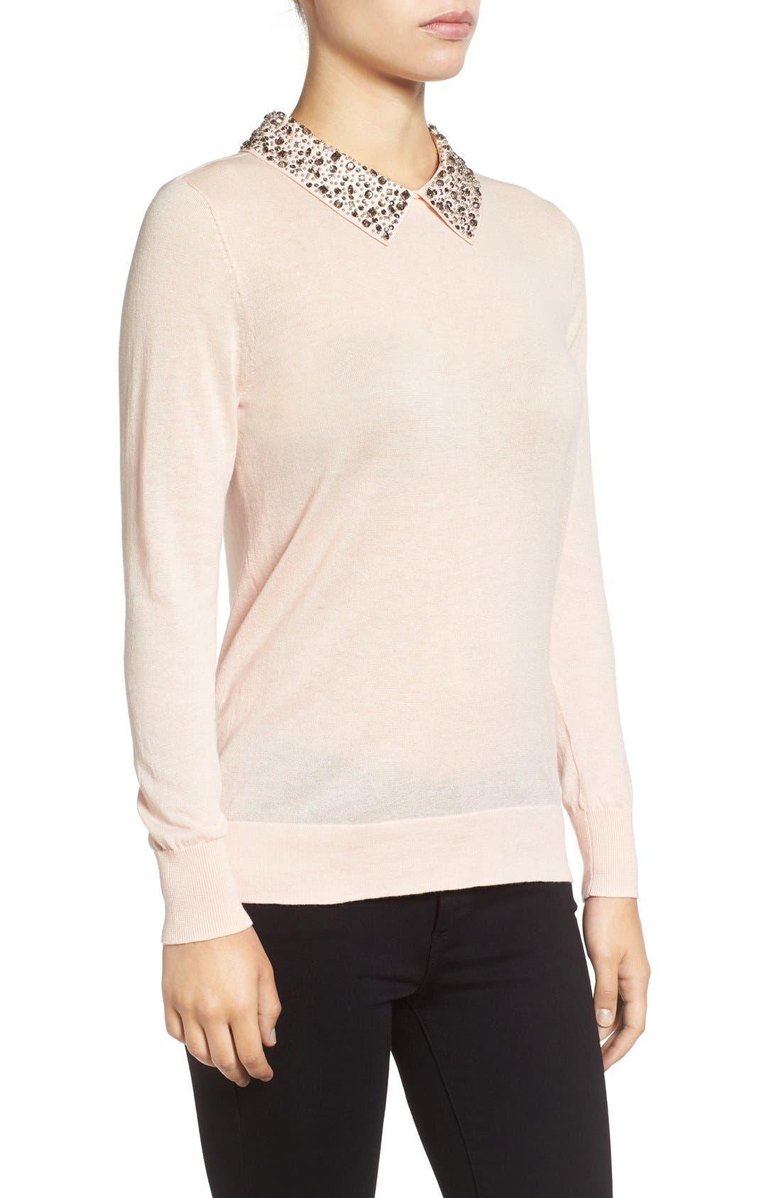 Alternate Image 3  - Halogen® Embellished Collar Sweater (Regular & Petite)