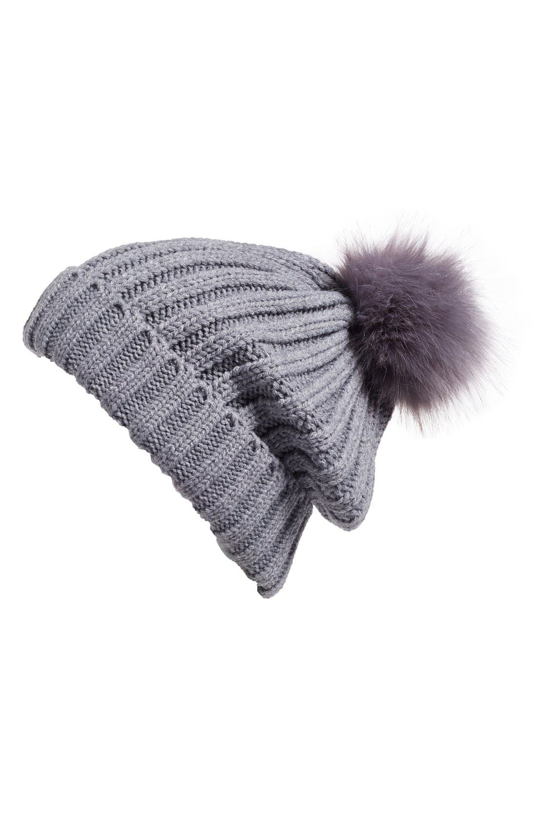 Main Image - BP. Faux Fur Pom Rib Knit Beanie