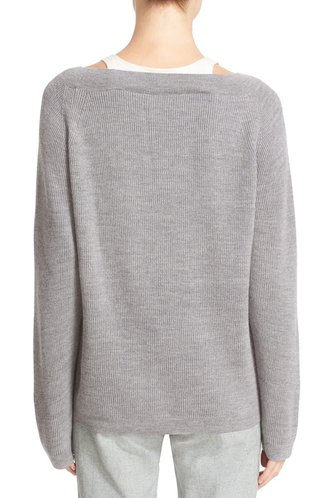 Alternate Image 2  - T by Alexander Wang Layered Merino Wool Pullover