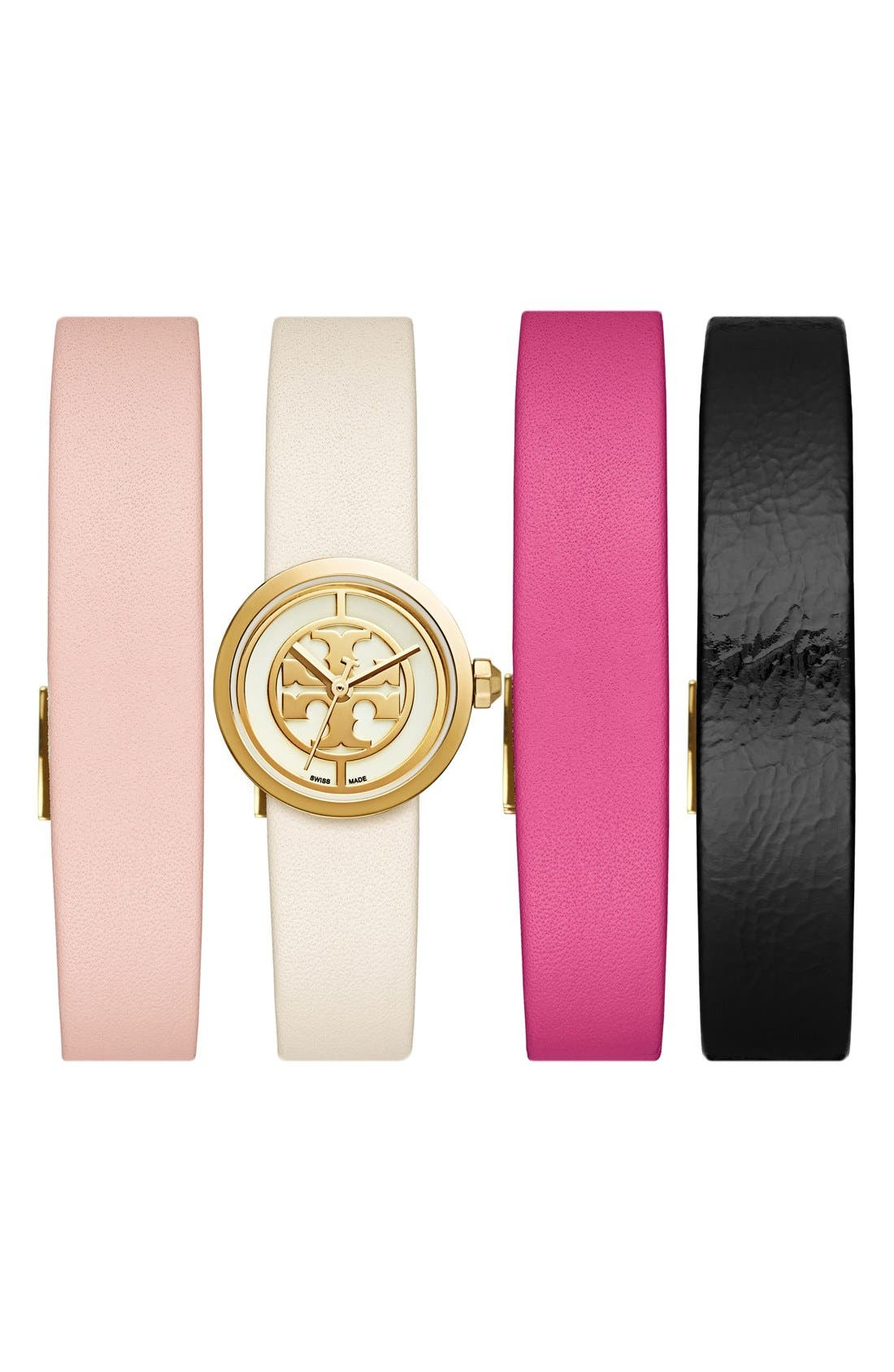Main Image - Tory Burch 'Reva' Leather Strap Watch Set, 20mm