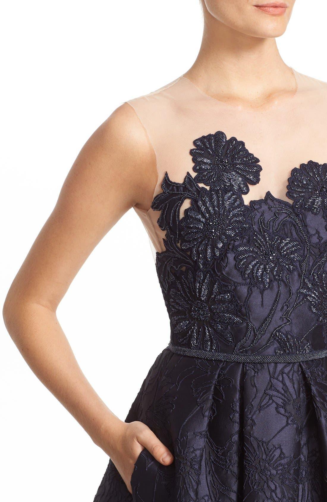Alternate Image 5  - Carmen Marc Valvo Couture Illusion Yoke Embroidered Jacquard Cocktail Dress