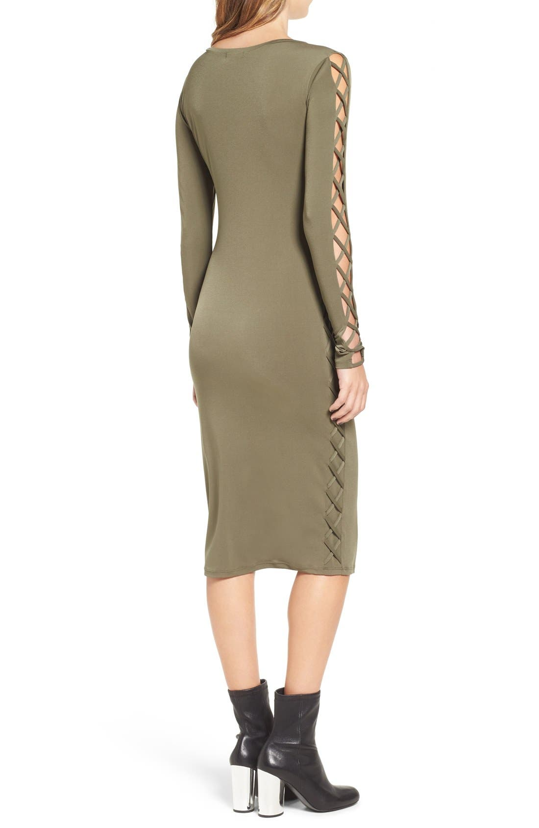 Alternate Image 2  - Leith Lace-Up Long Sleeve Body-Con Dress