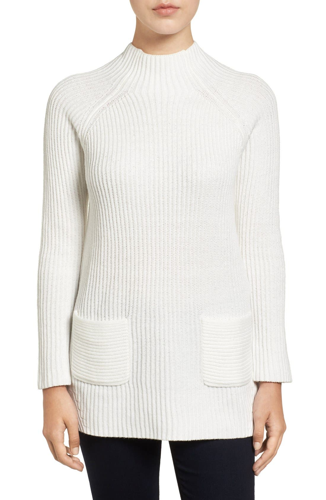 Alternate Image 1 Selected - Chaus Two-Pocket Mock Neck Tunic Sweater