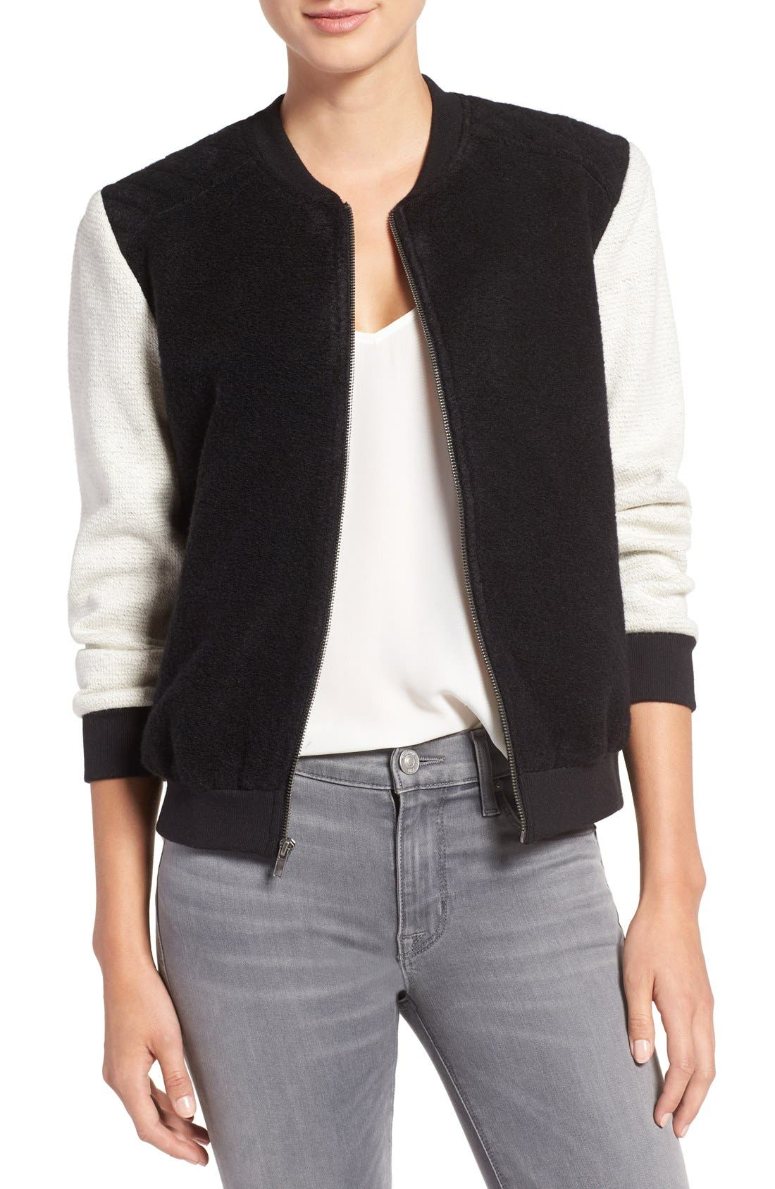 Alternate Image 1 Selected - cupcakes and cashmere 'Tompkins' Colorblock Varsity Jacket