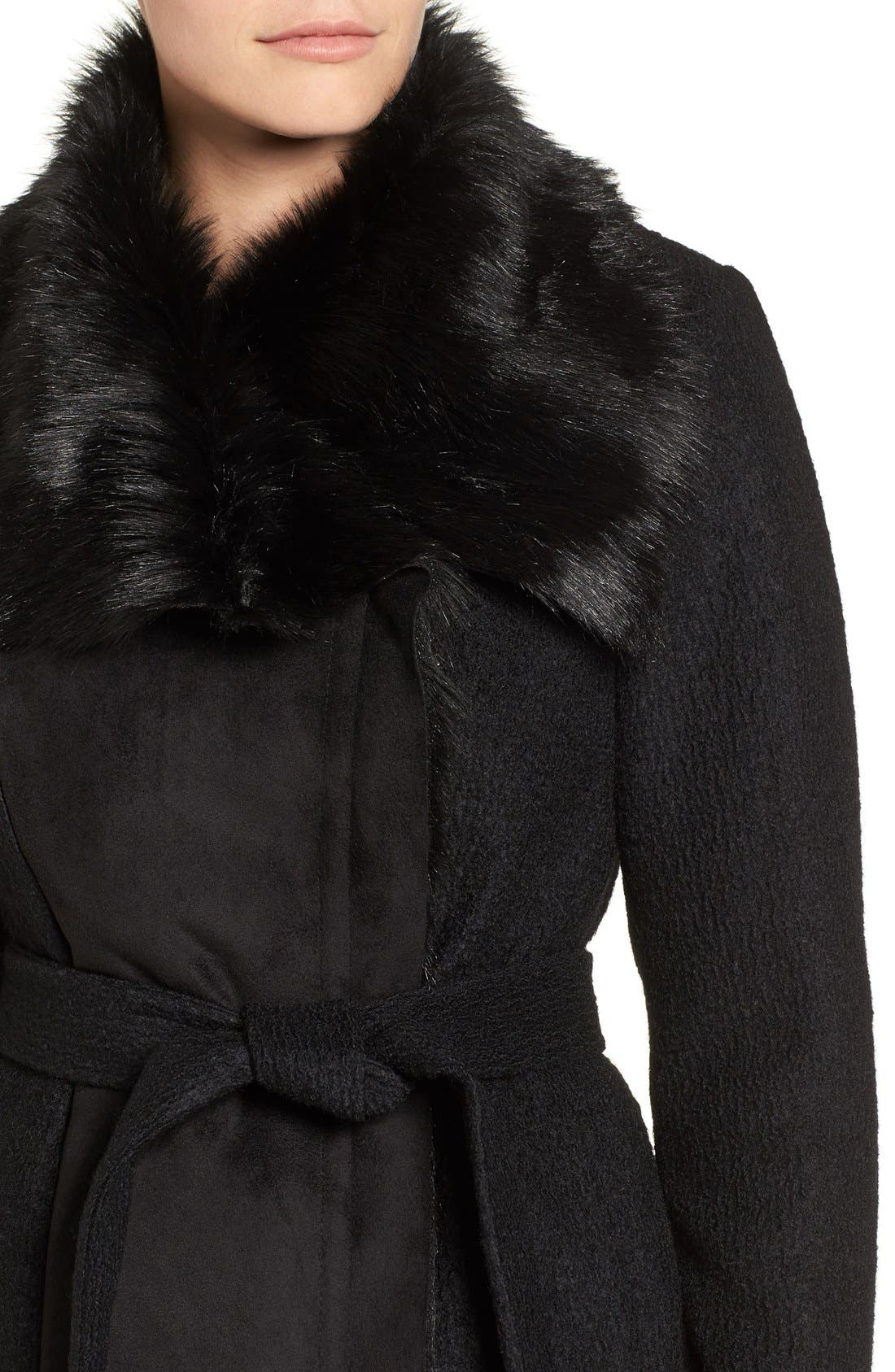 Alternate Image 4  - Vince Camuto Faux Shearling Trim Belted Wool Blend Long Coat
