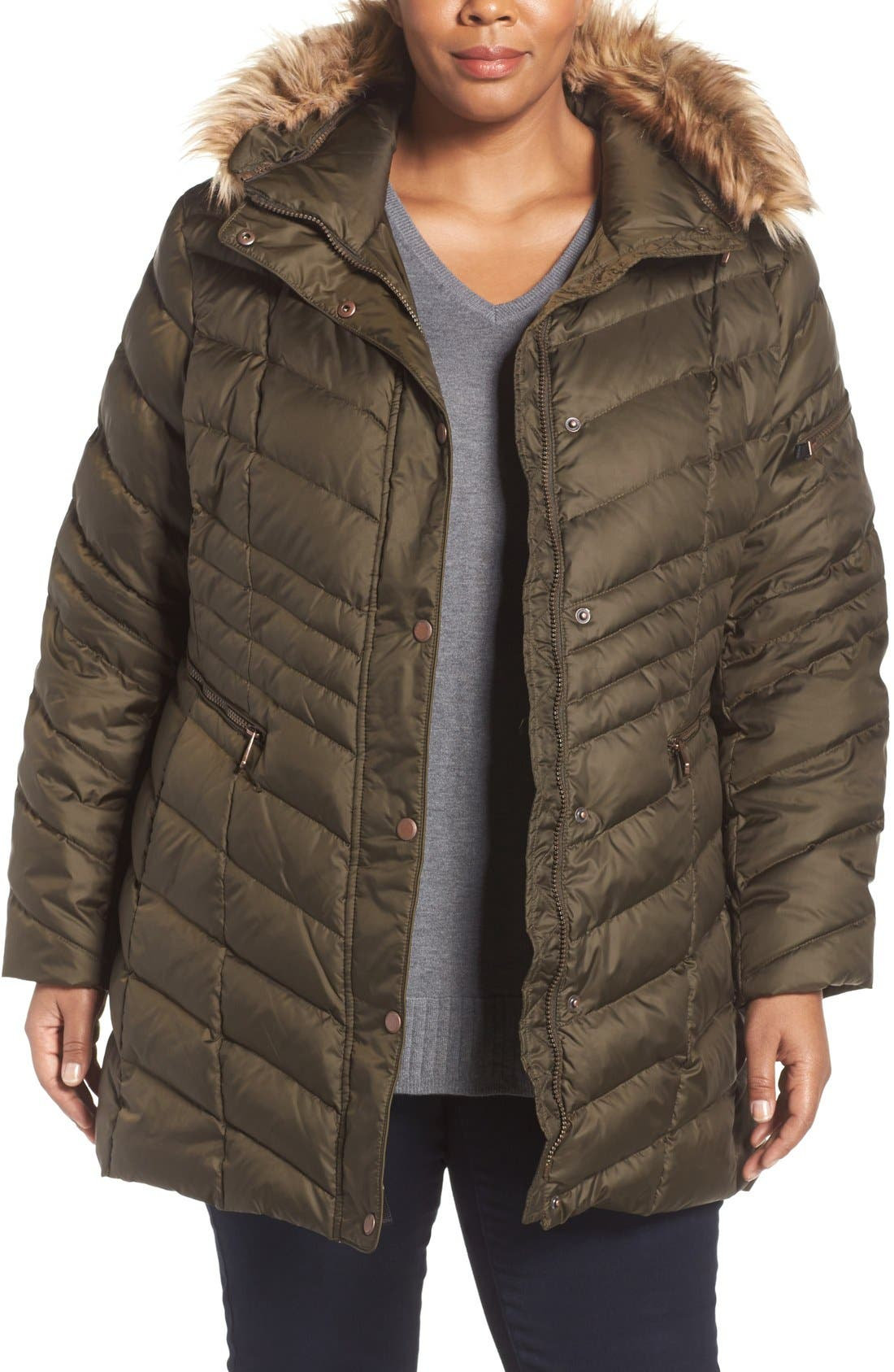 ANDREW MARC 'Renee' Chevron Quilted Coat with Faux