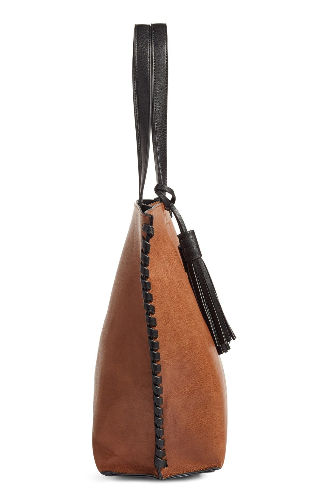 Alternate Image 5  - Phase 3 Whipstitch Tassel Faux Leather Tote