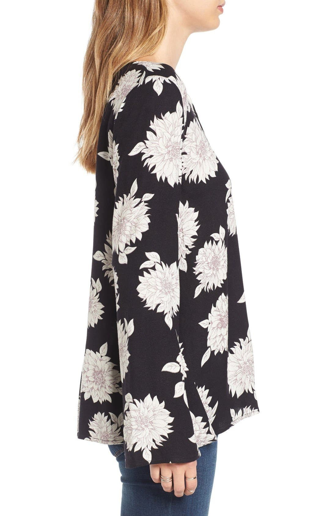 Alternate Image 3  - Sun & Shadow Floral Print Lace-Up Top