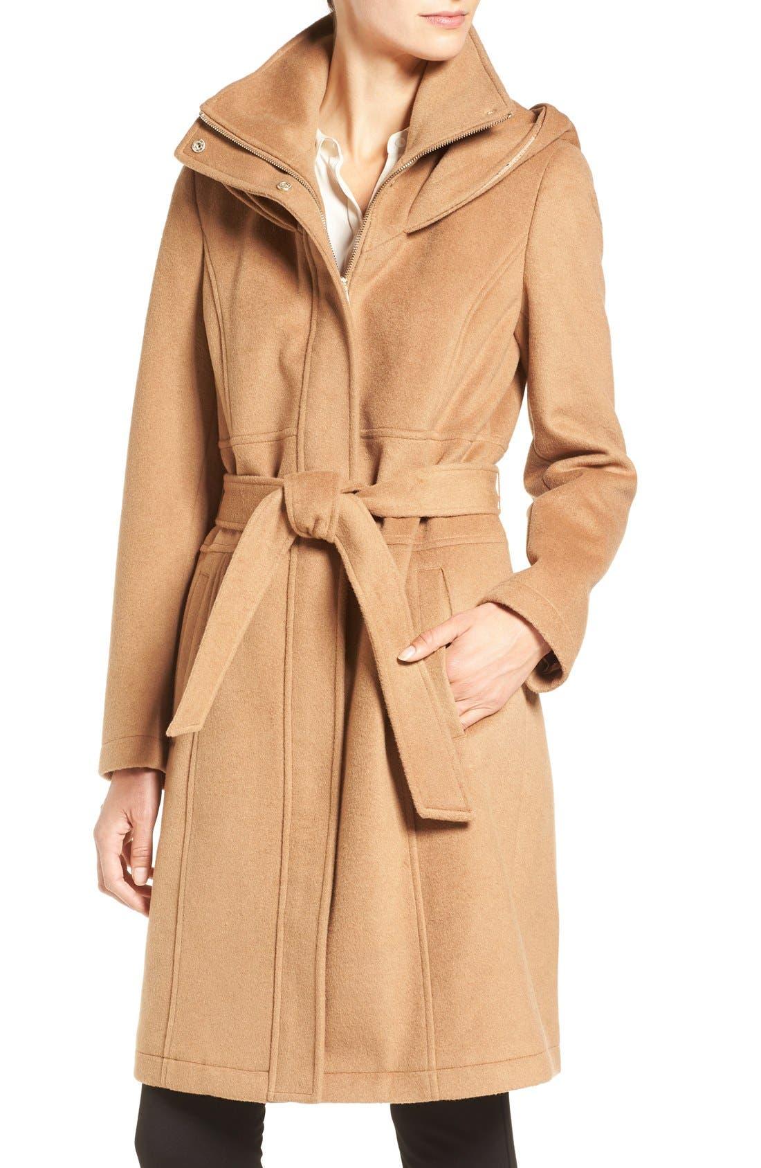 Alternate Image 4  - Ivanka Trump Wool Blend Coat with Removable Faux Fur Trim Hood