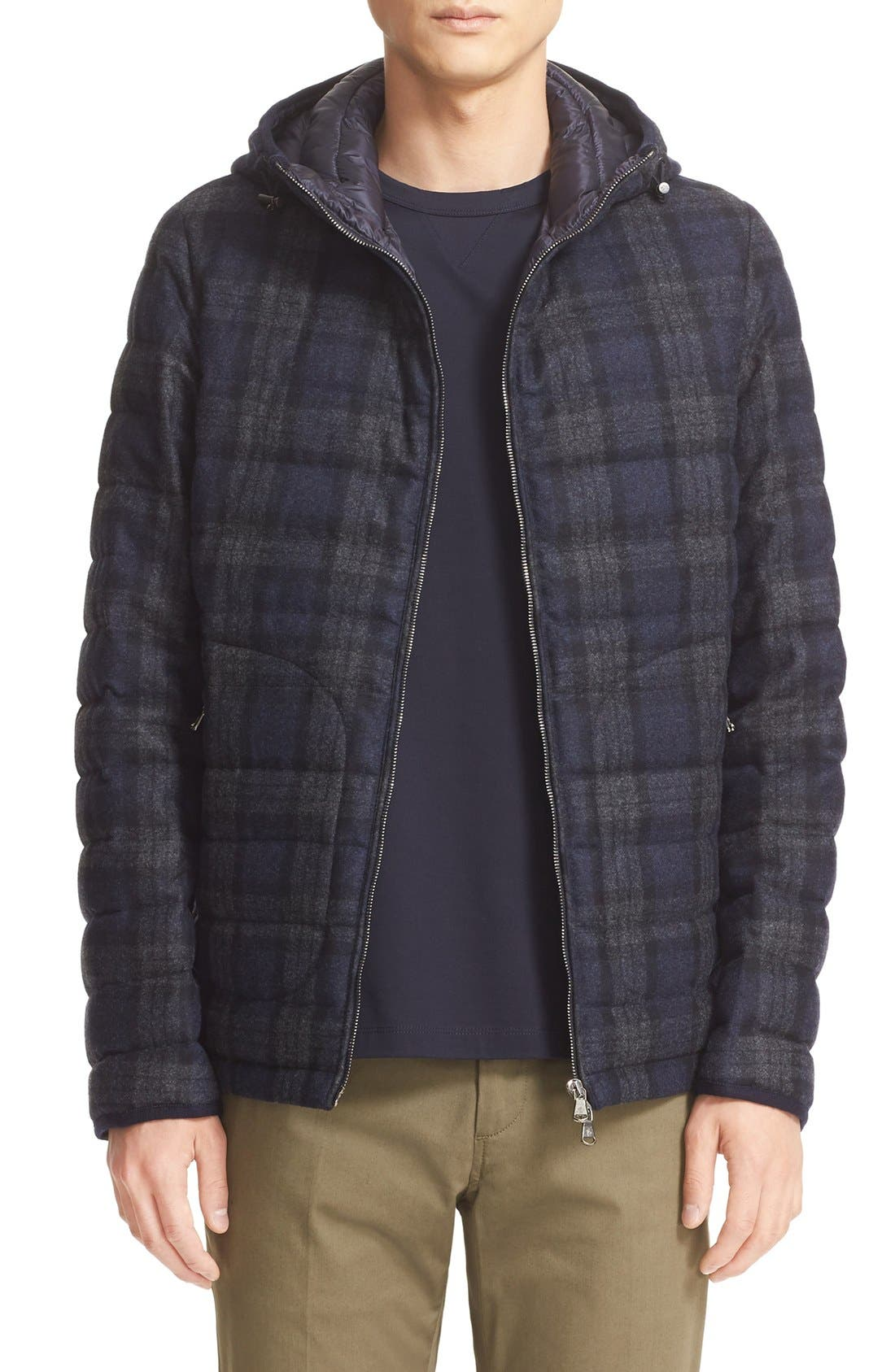 MONCLER 'Blanchard' Tartan Plaid Wool Down Jacket