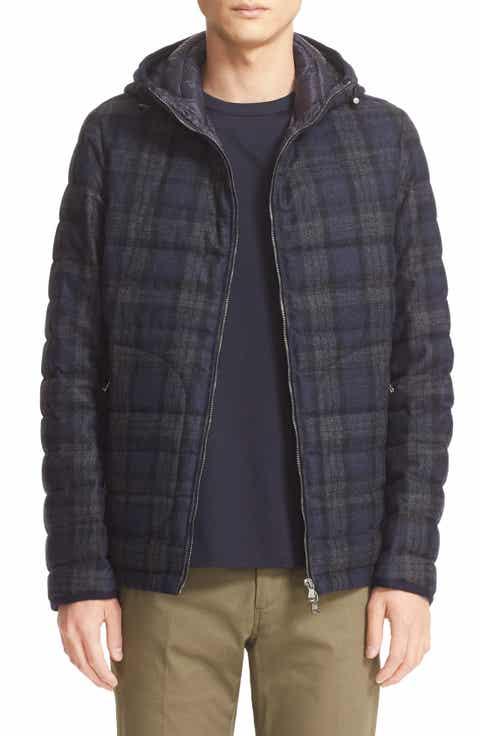 Moncler 'Blanchard' Tartan Plaid Wool Down Jacket