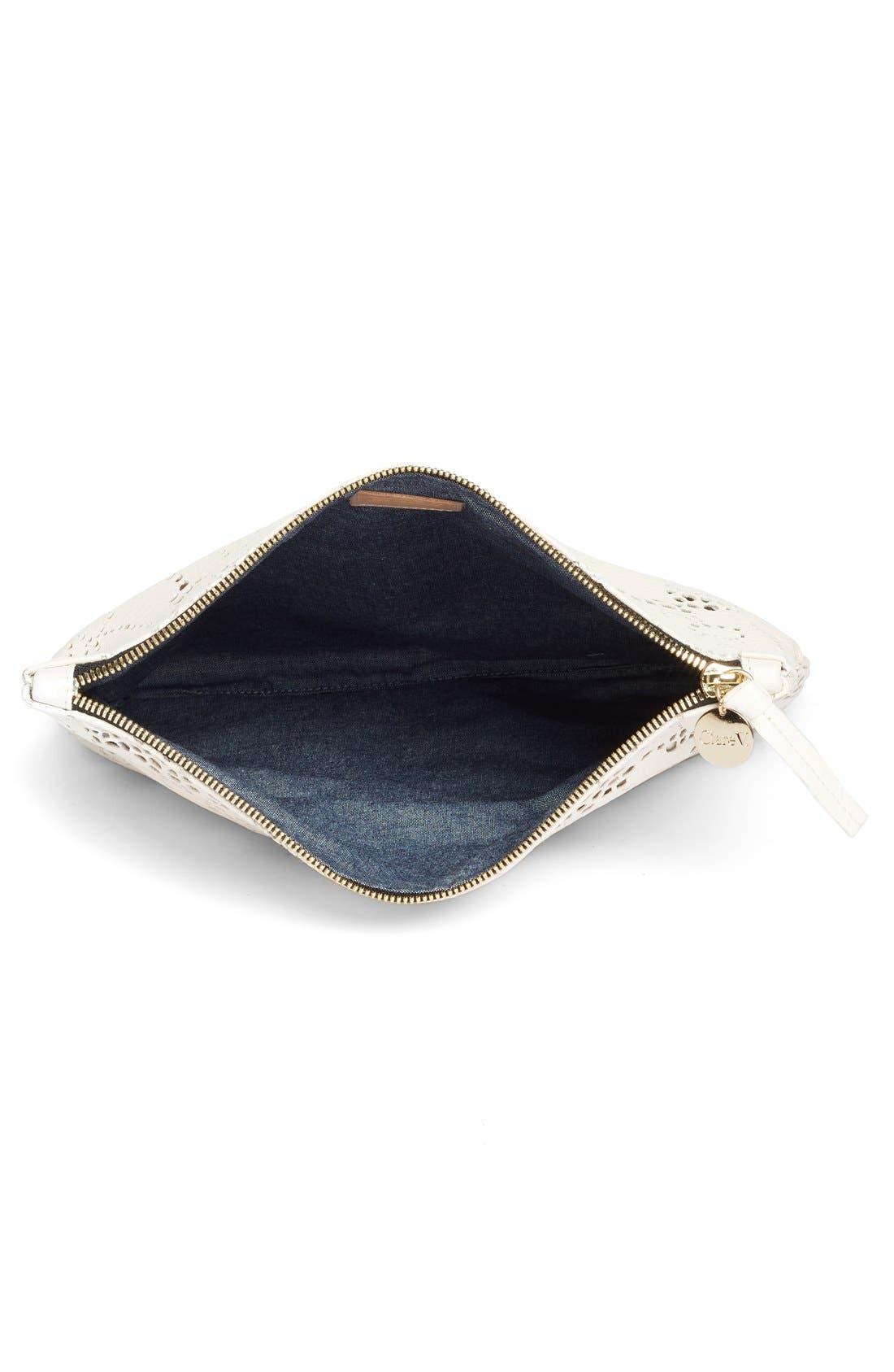 Alternate Image 4  - Clare V. Leather Lace Foldover Clutch