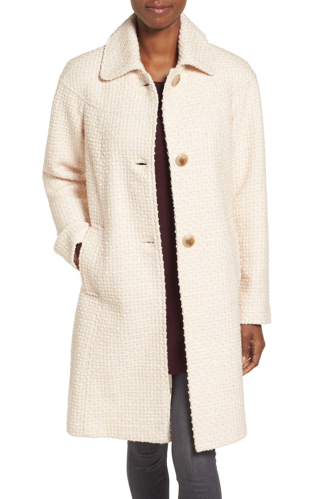 Gallery Basket Weave Three Quarter Coat (Regular & Petite)