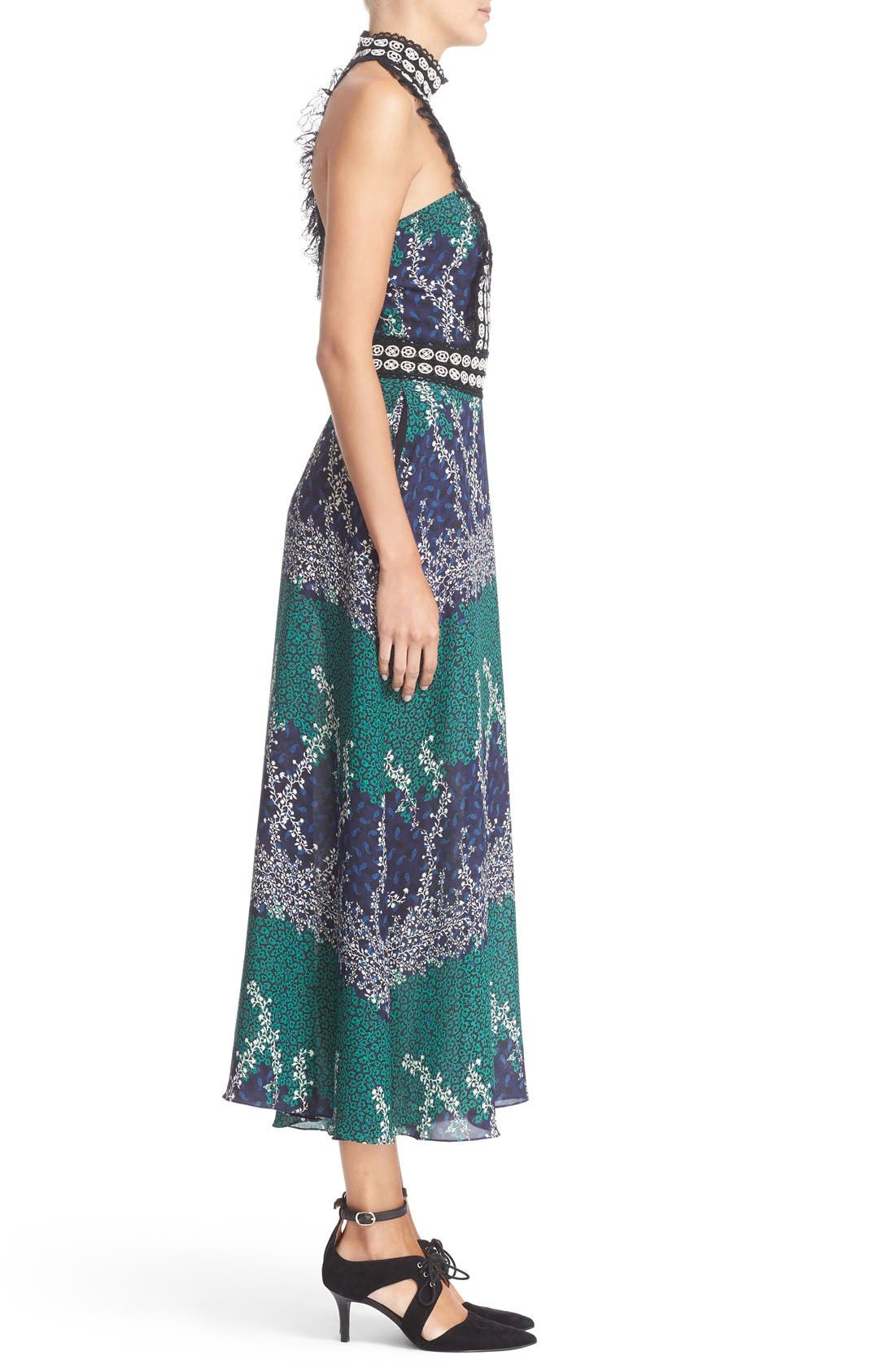 Alternate Image 5  - Yigal Azrouël Lace Trim Ivy & Paisley Print Maxi Dress