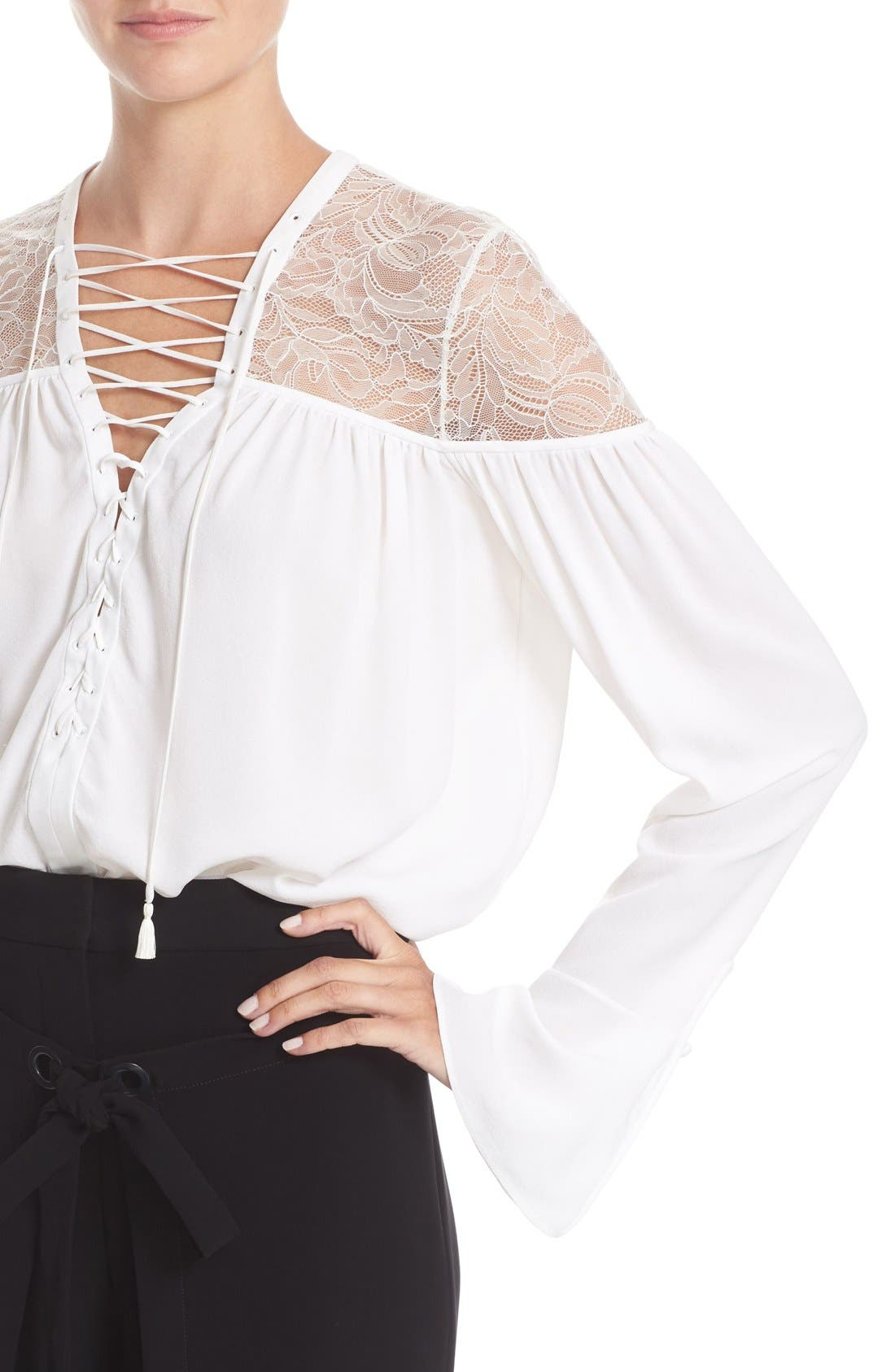 Alternate Image 6  - Yigal Azrouël Lace-Up Ruched Crepe Georgette Blouse