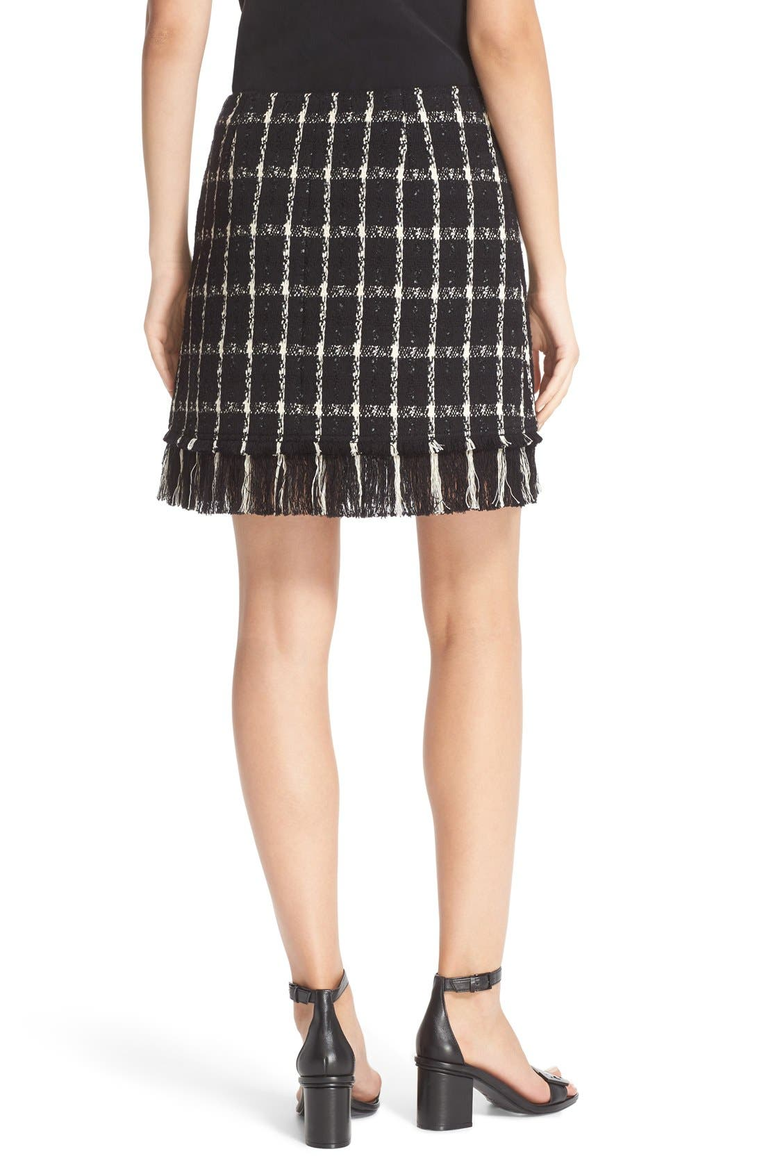 Alternate Image 2  - Tory Burch 'Marisol' Fringe Hem Plaid Tweed Miniskirt