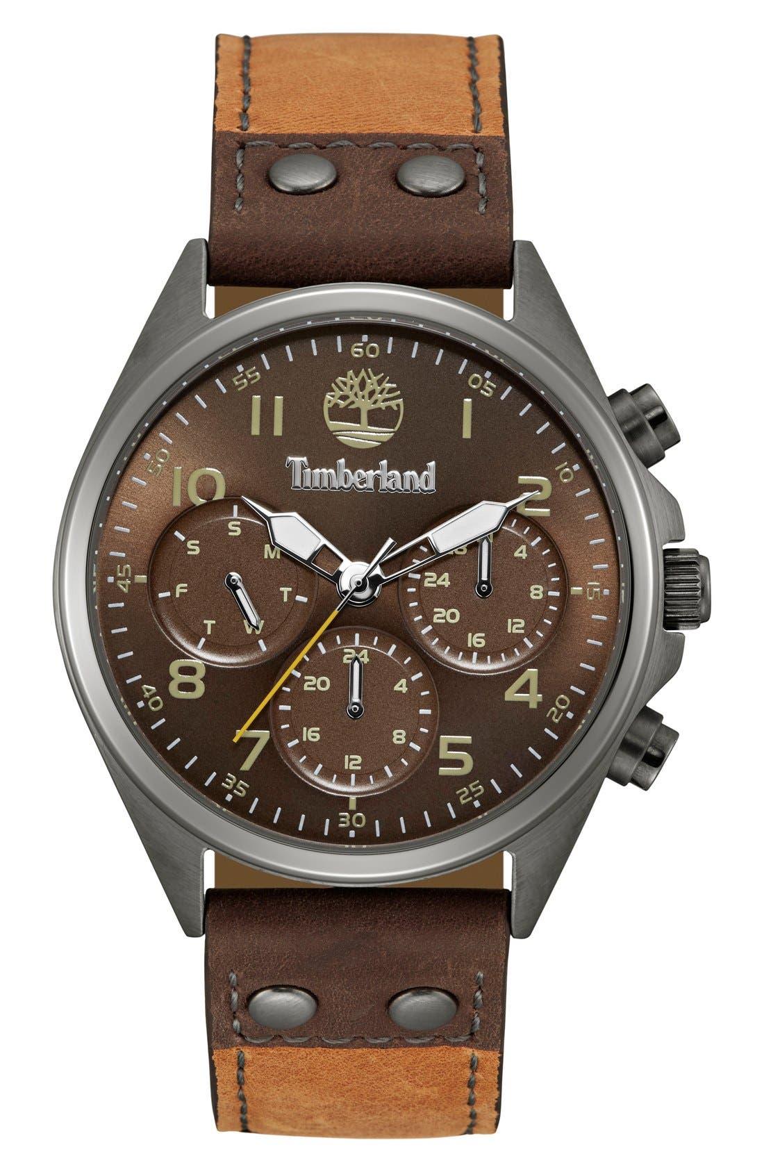 TIMBERLAND 'Wolcott' Multifunction Leather Strap Watch, 44mm