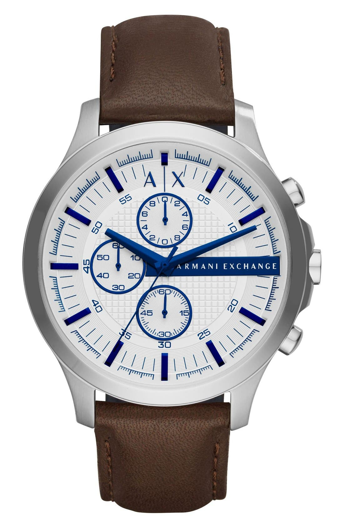 AX Armani Exchange Chronograph Leather Strap Watch, 46mm
