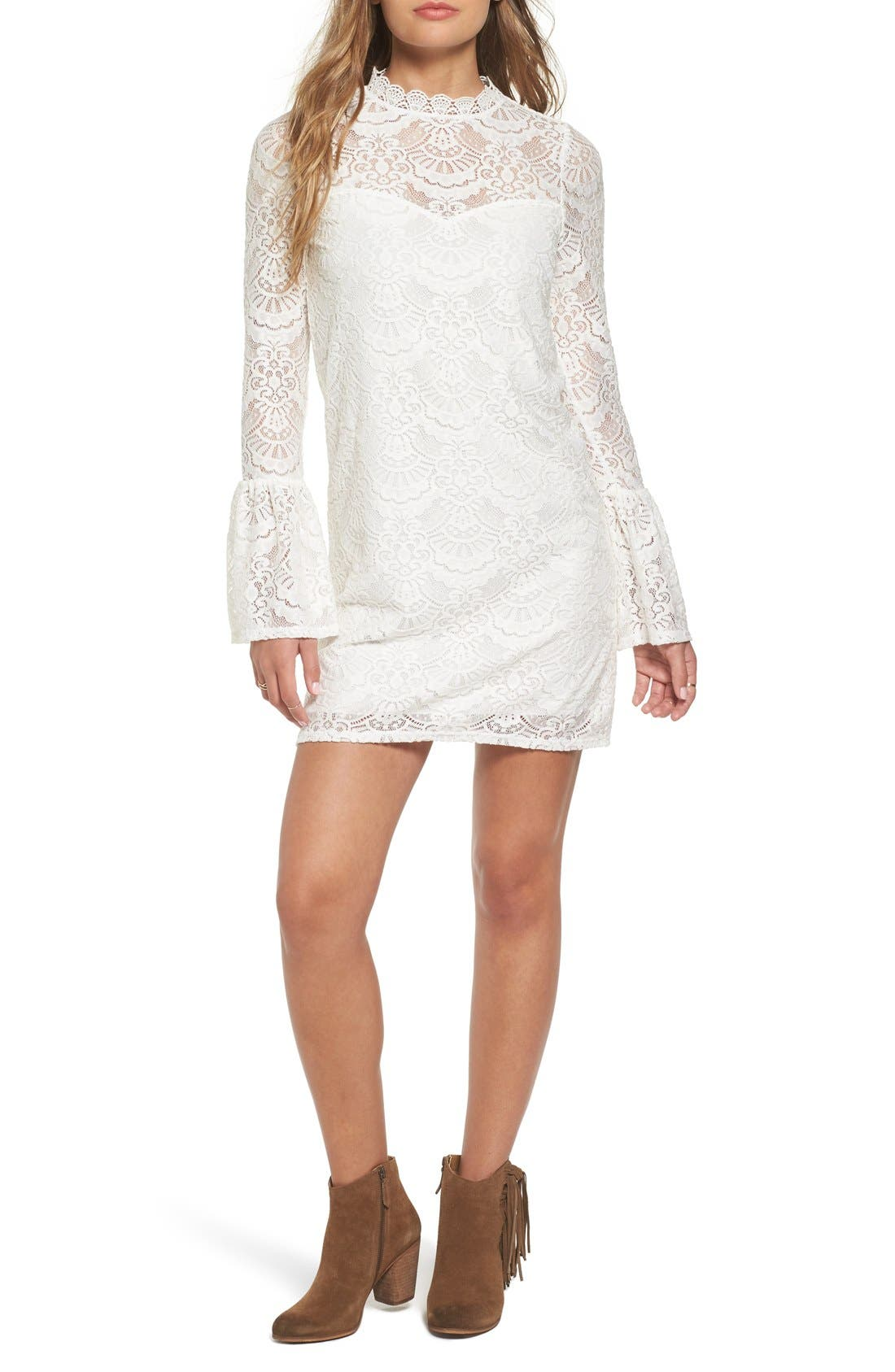 dee elly Lace Bell Sleeve Shift Dress