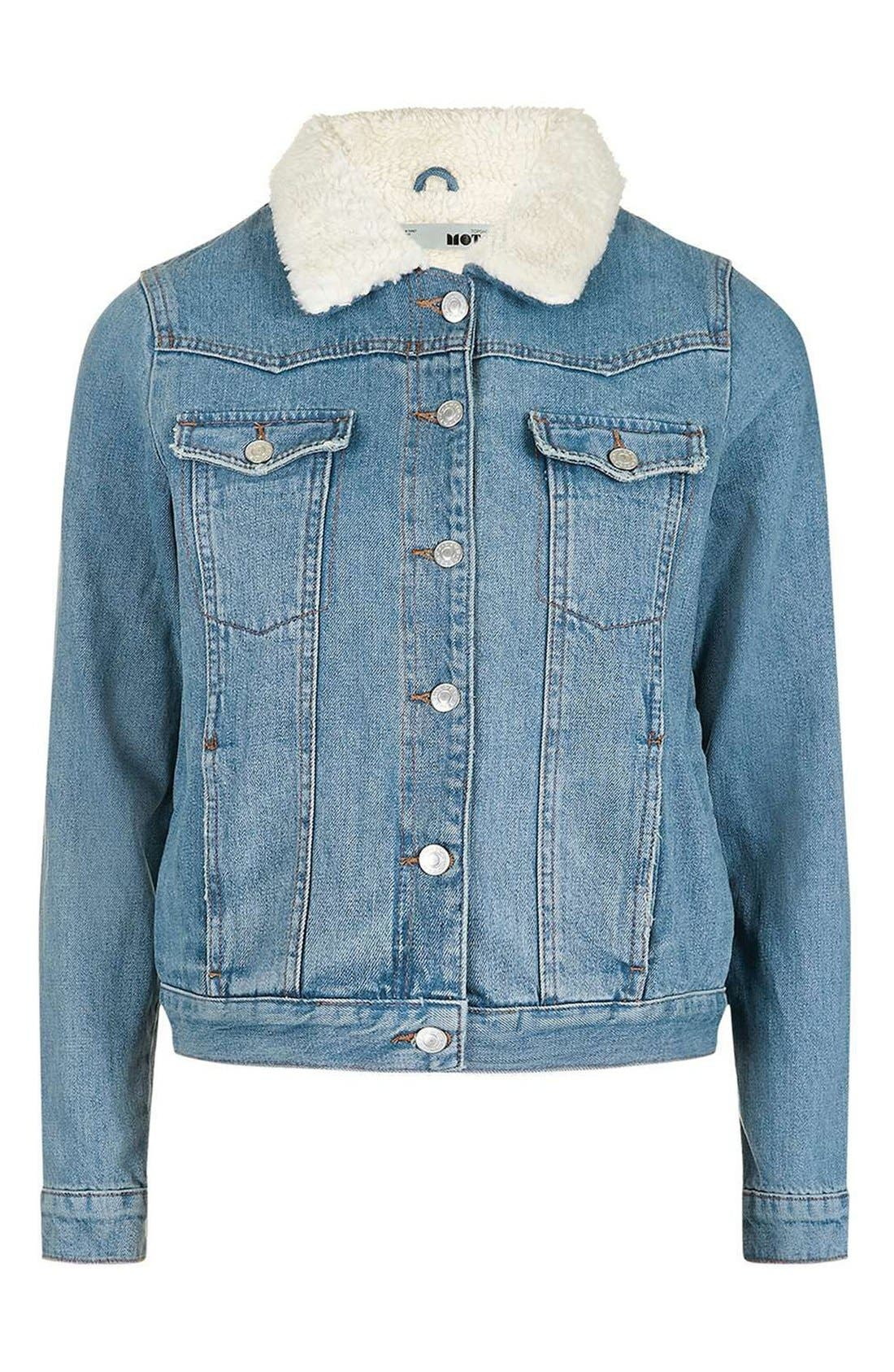 Alternate Image 4  - Topshop Denim Jacket with Faux Shearling Lining