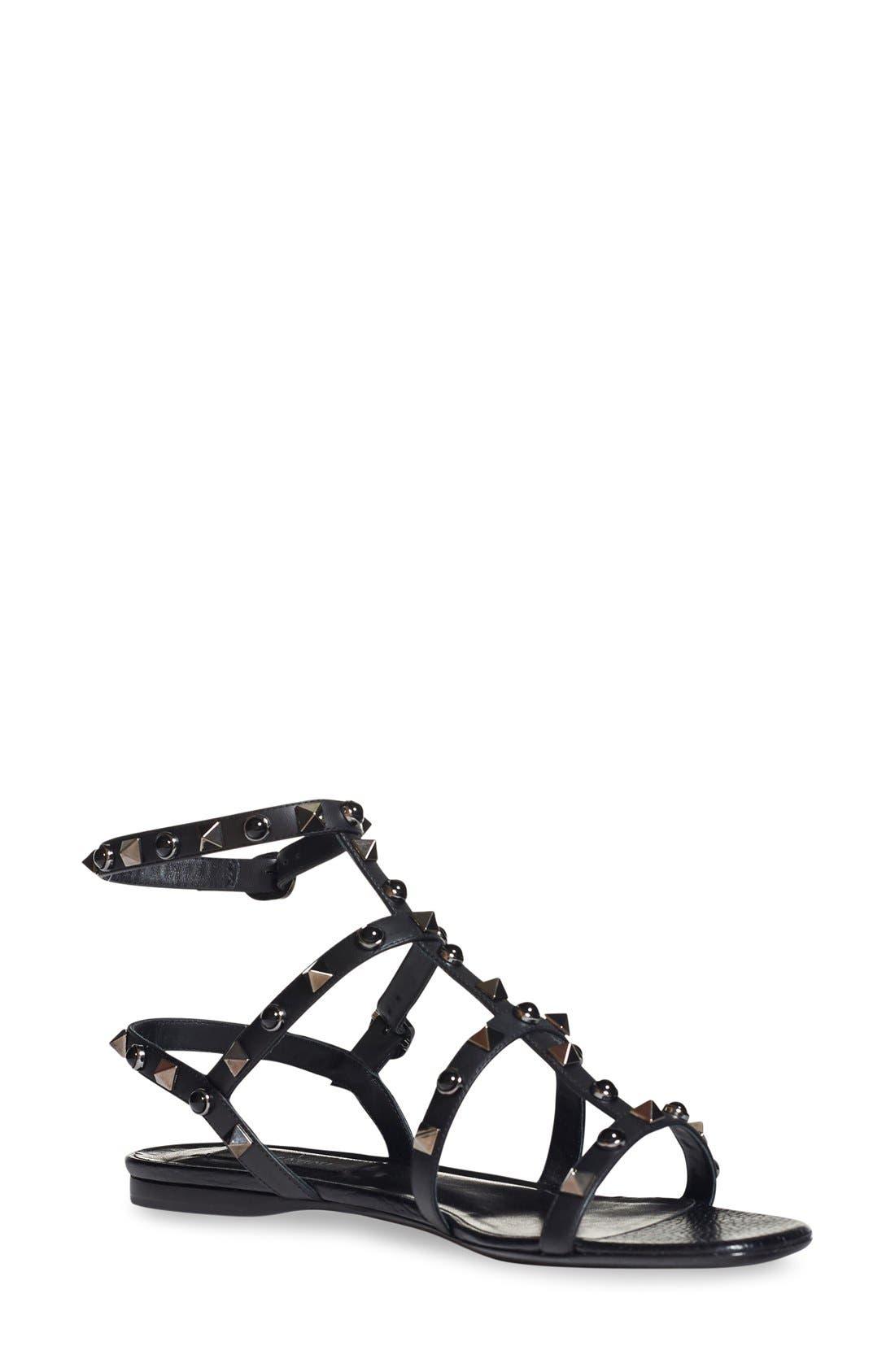 Valentino 'Noir Rolling' Rockstud Sandal (Women)
