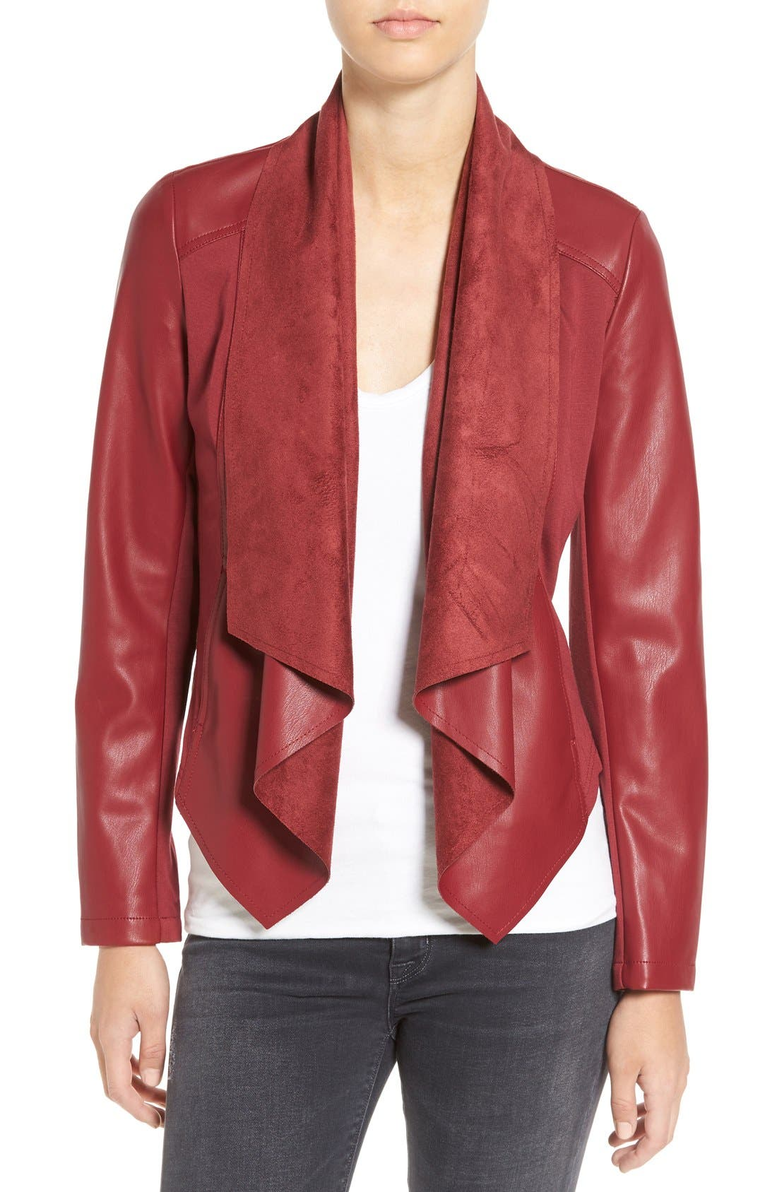 Alternate Image 1 Selected - KUT from the Kloth 'Ana' Faux Leather Drape Front Jacket (Regular & Petite)