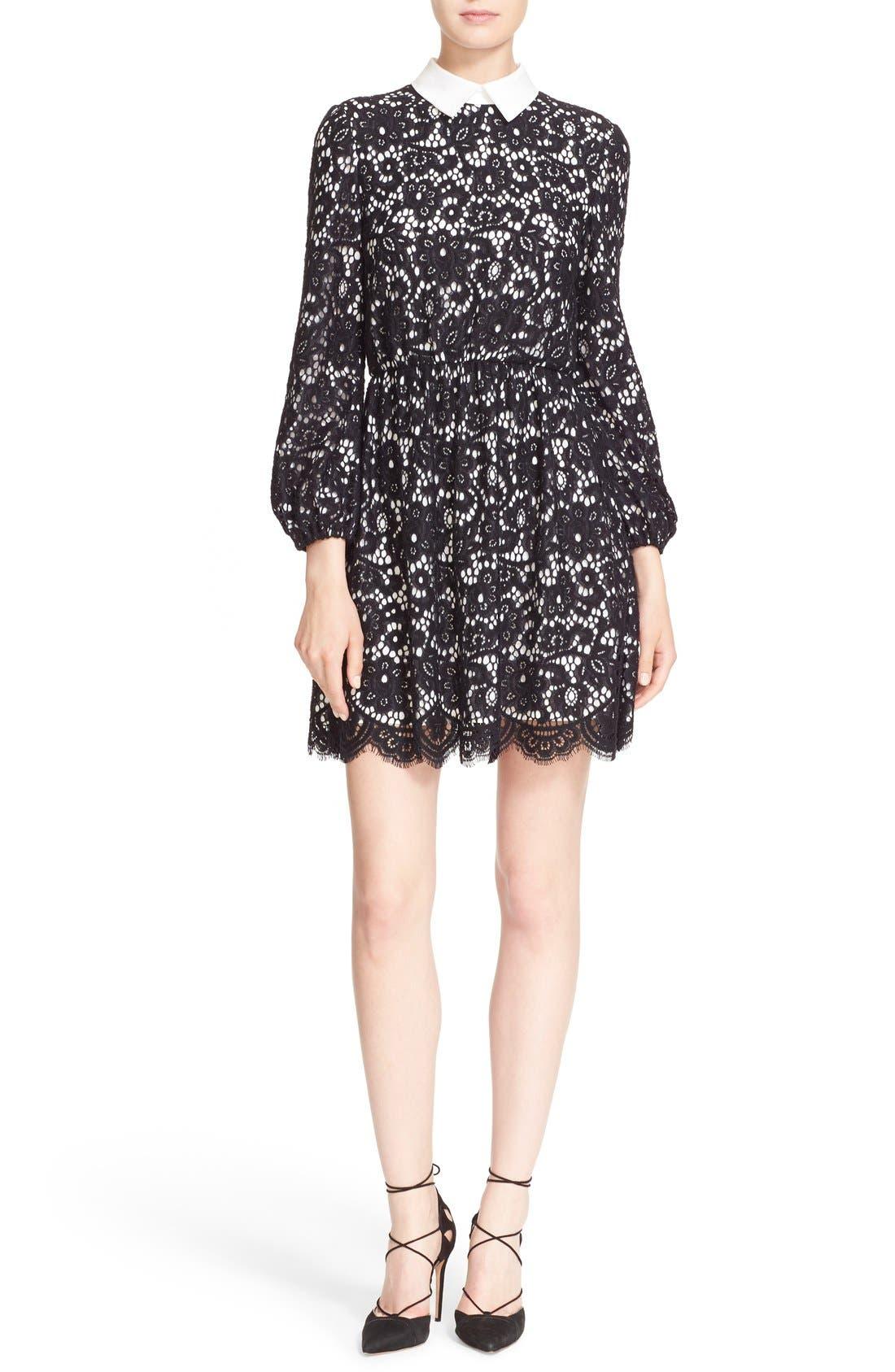 Alternate Image 1 Selected - Alice + Olivia 'Terisa' Collared Blouson Sleeve Lace Dress