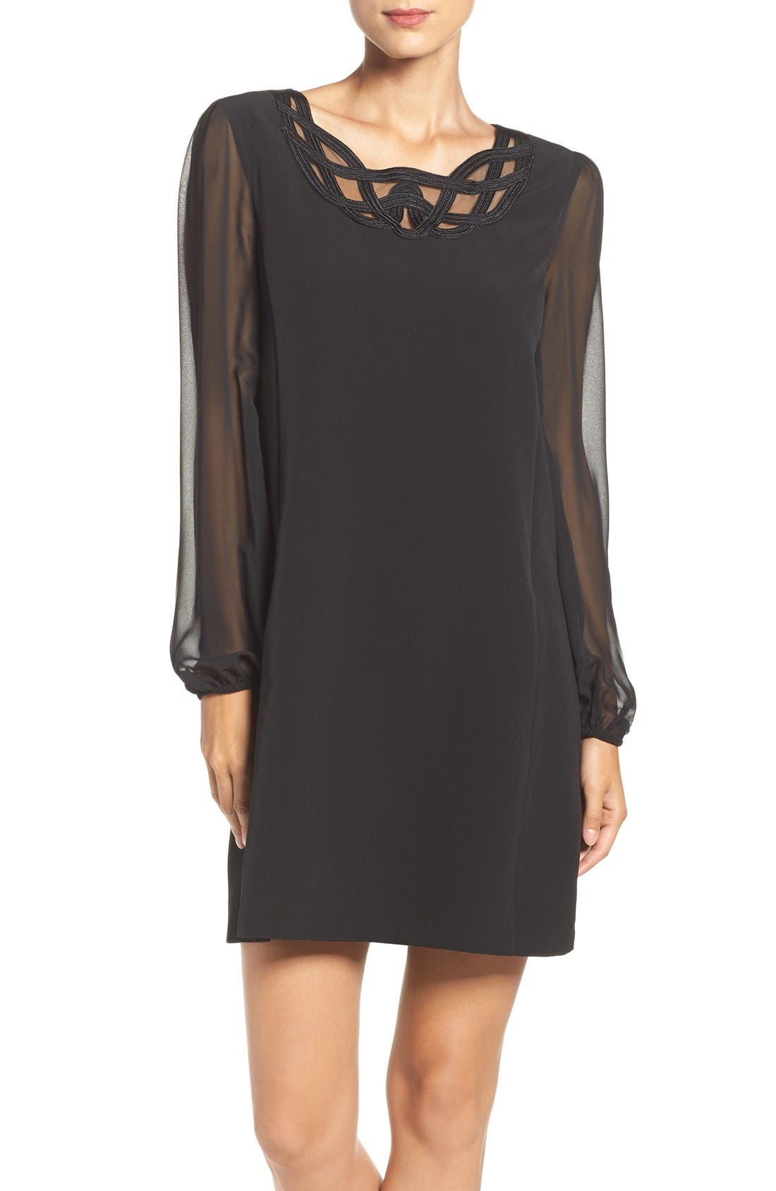 Alternate Image 1 Selected - Laundry by Shelli Segal Scroll Neck Shift Dress