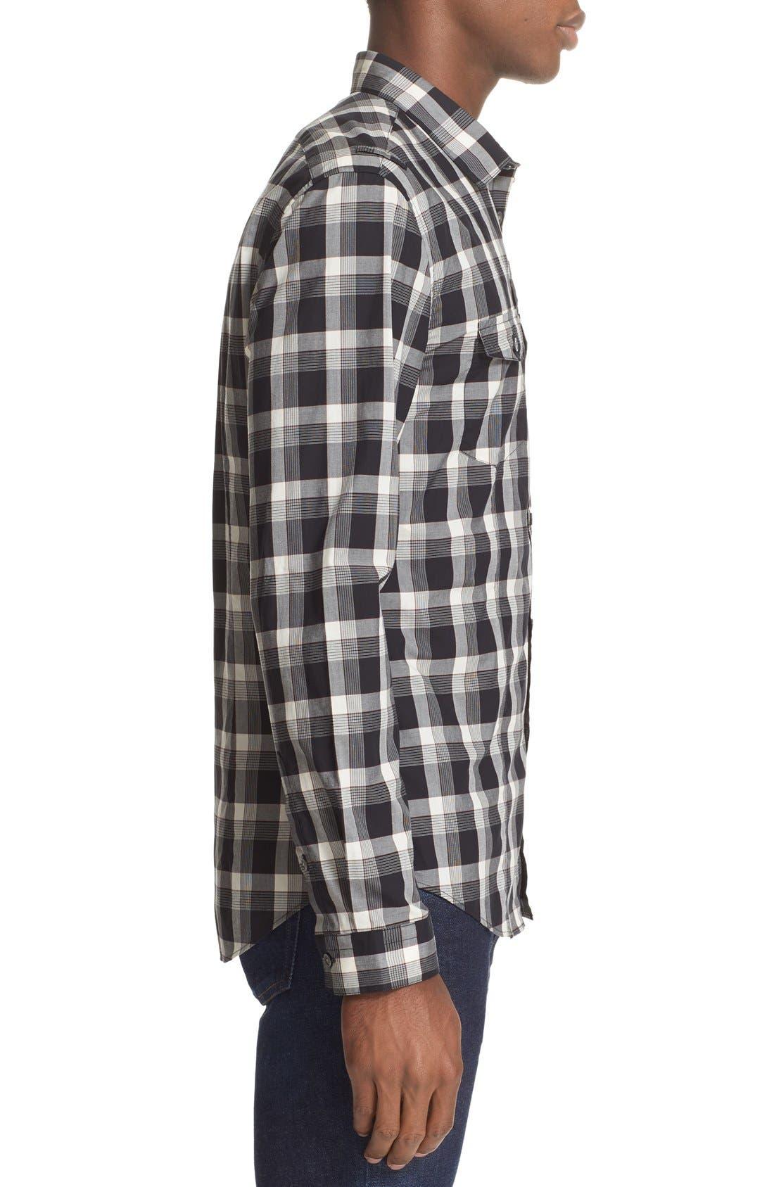 Alternate Image 4  - John Varvatos Collection Slim Fit Plaid Military Shirt