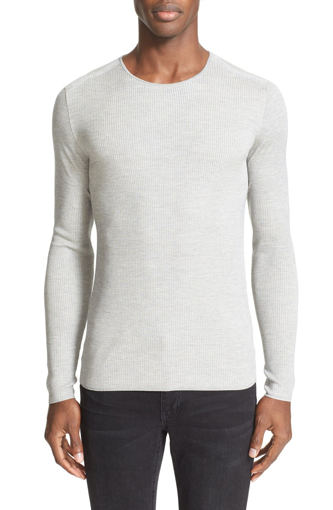 JOHN VARVATOS COLLECTION Rib Knit Silk Blend Sweater