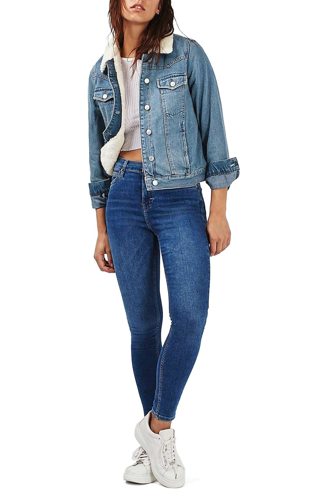 Alternate Image 2  - Topshop Denim Jacket with Faux Shearling Lining