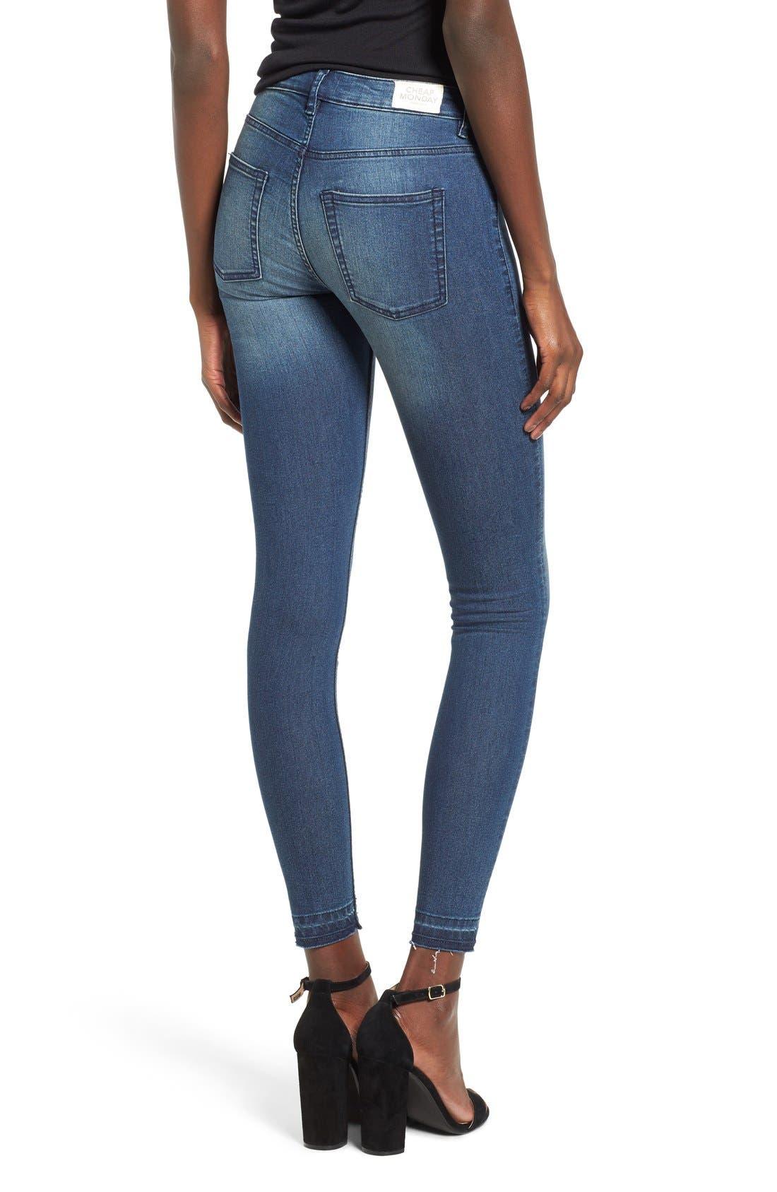 Alternate Image 2  - Cheap Monday Released Hem Skinny Jeans (Fall Blue)