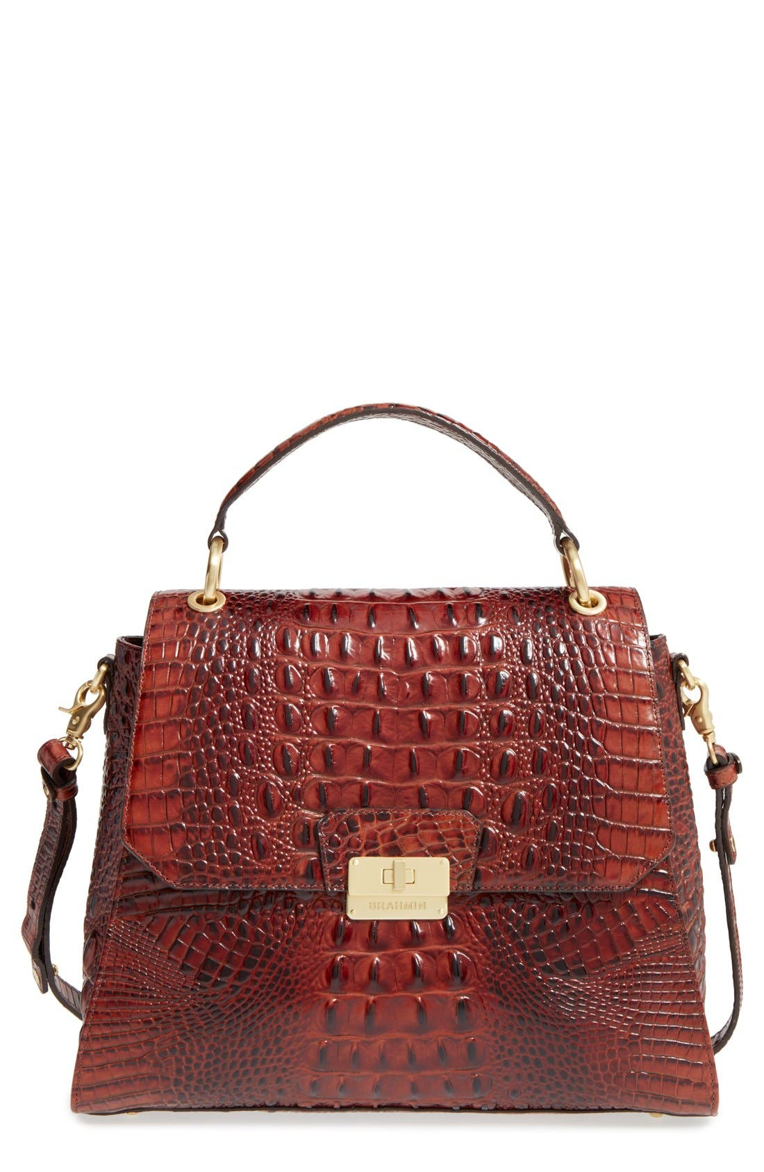 BRAHMIN 'Melbourne Brinley' Croc Embossed Leather Top Handle