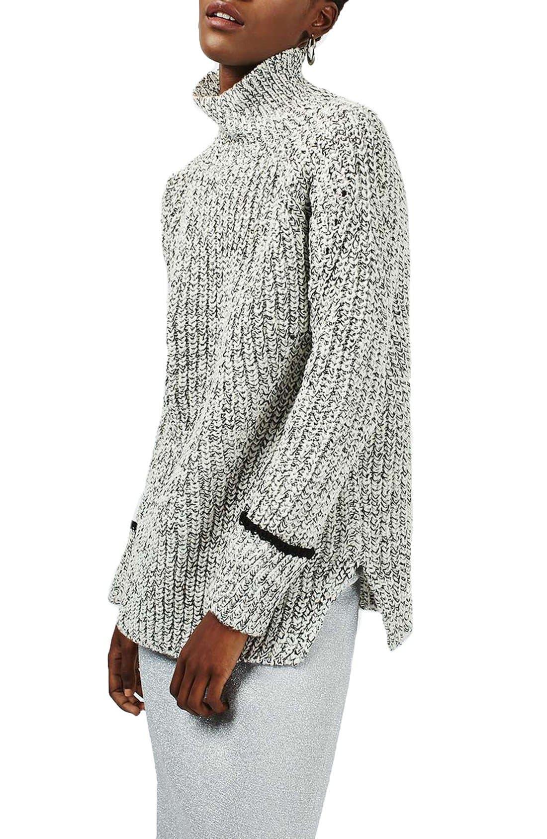 Main Image - Topshop Stripe Cuff Funnel Neck Sweater