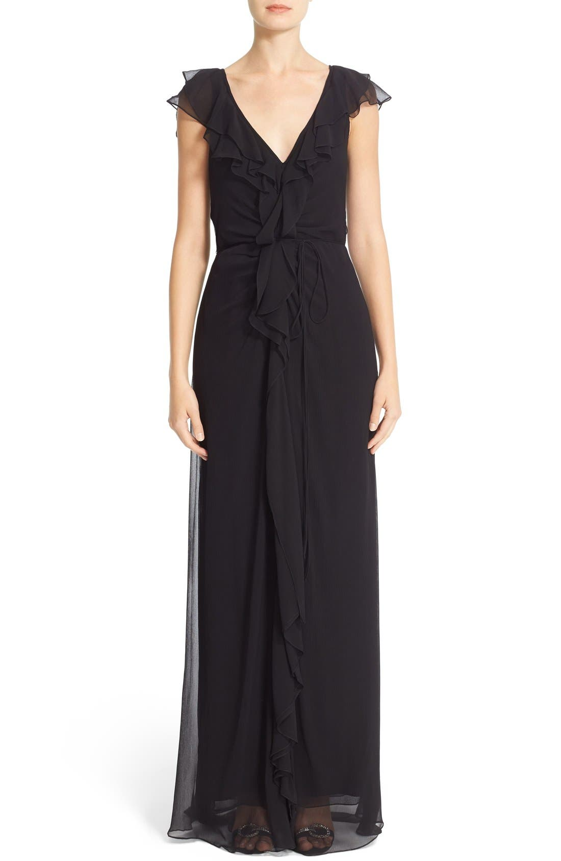 Carolina Herrera Ruffled Chiffon Column Gown