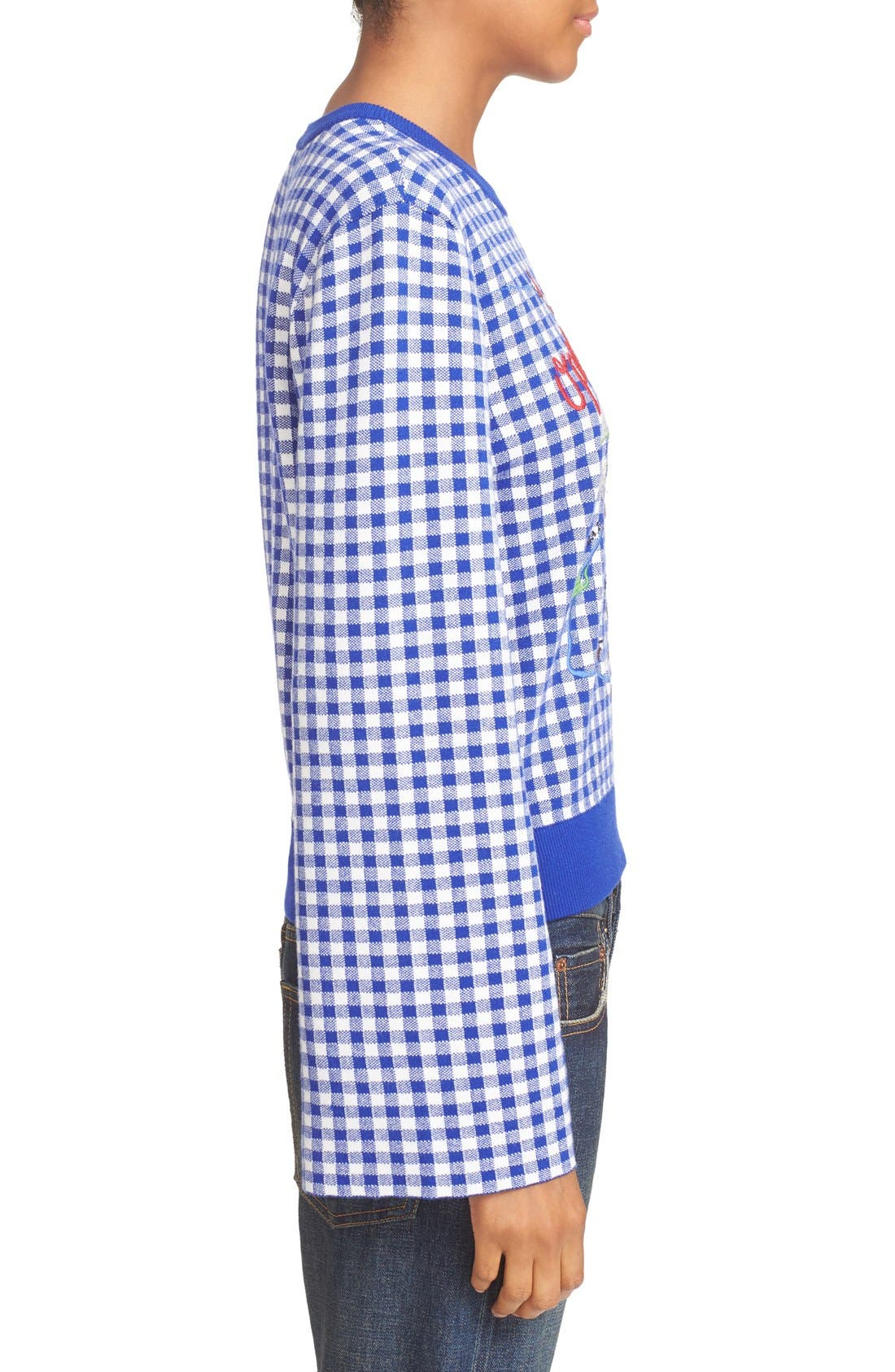 Alternate Image 3  - Opening Ceremony Embroidered Map Gingham Sweater