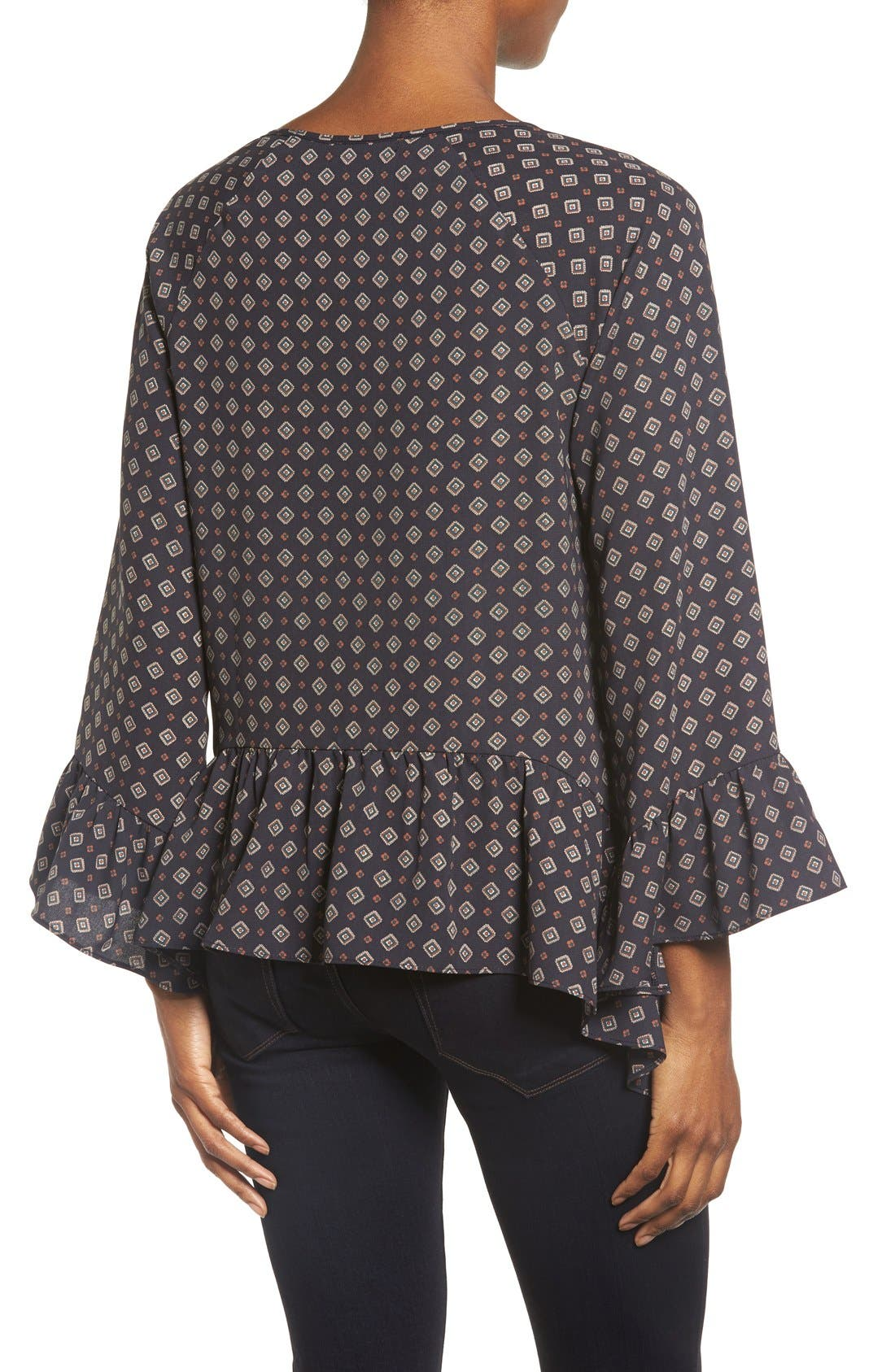 Alternate Image 2  - Gibson Bell Sleeve Ruffle Hem Blouse
