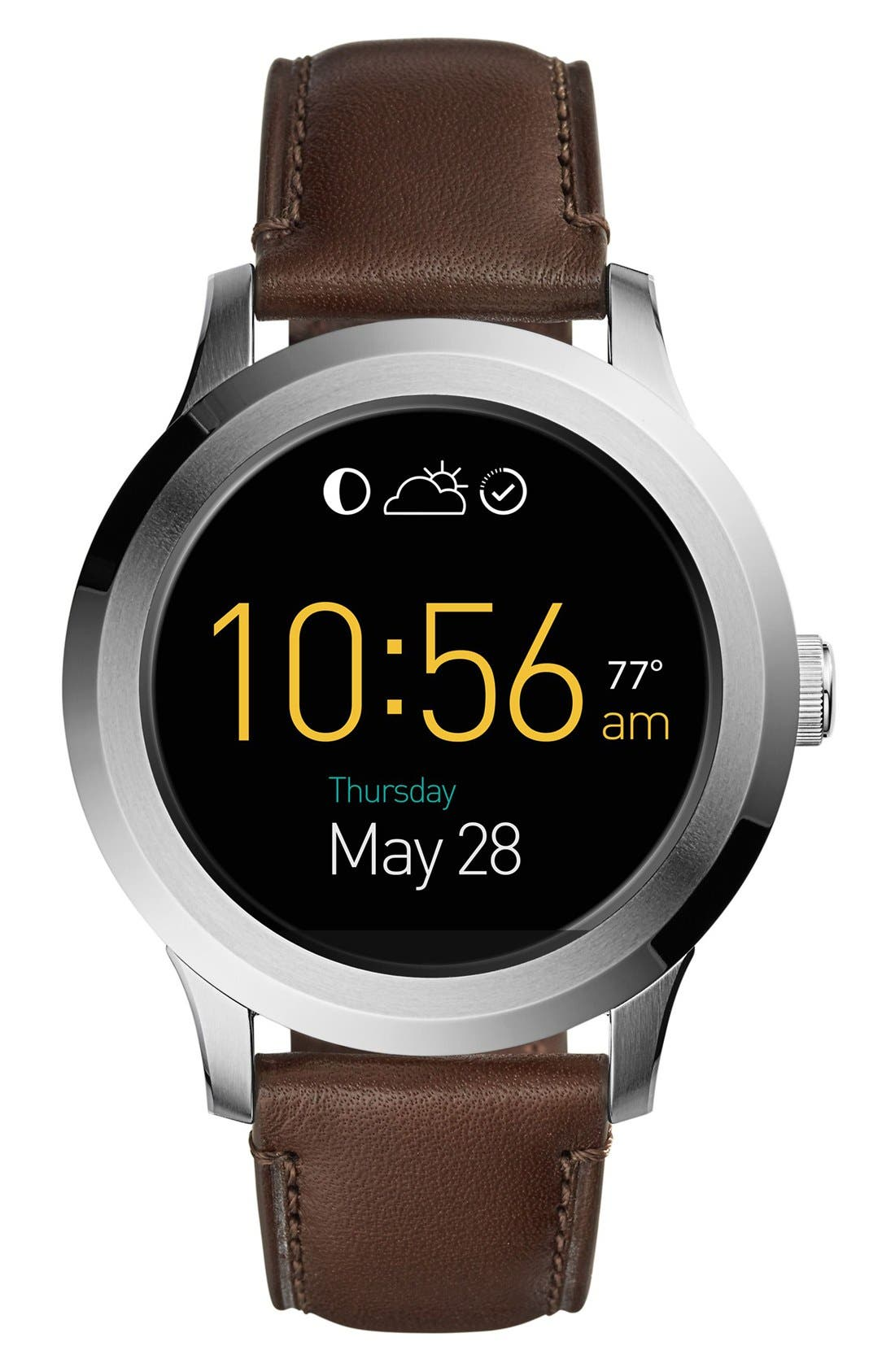 Fossil Q Founder Leather Strap Digital Smart Watch, 46mm
