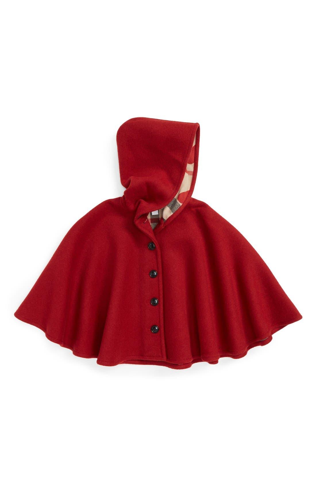 Alternate Image 1 Selected - Burberry 'Rosa' Hooded Wool Cape (Little Girls)