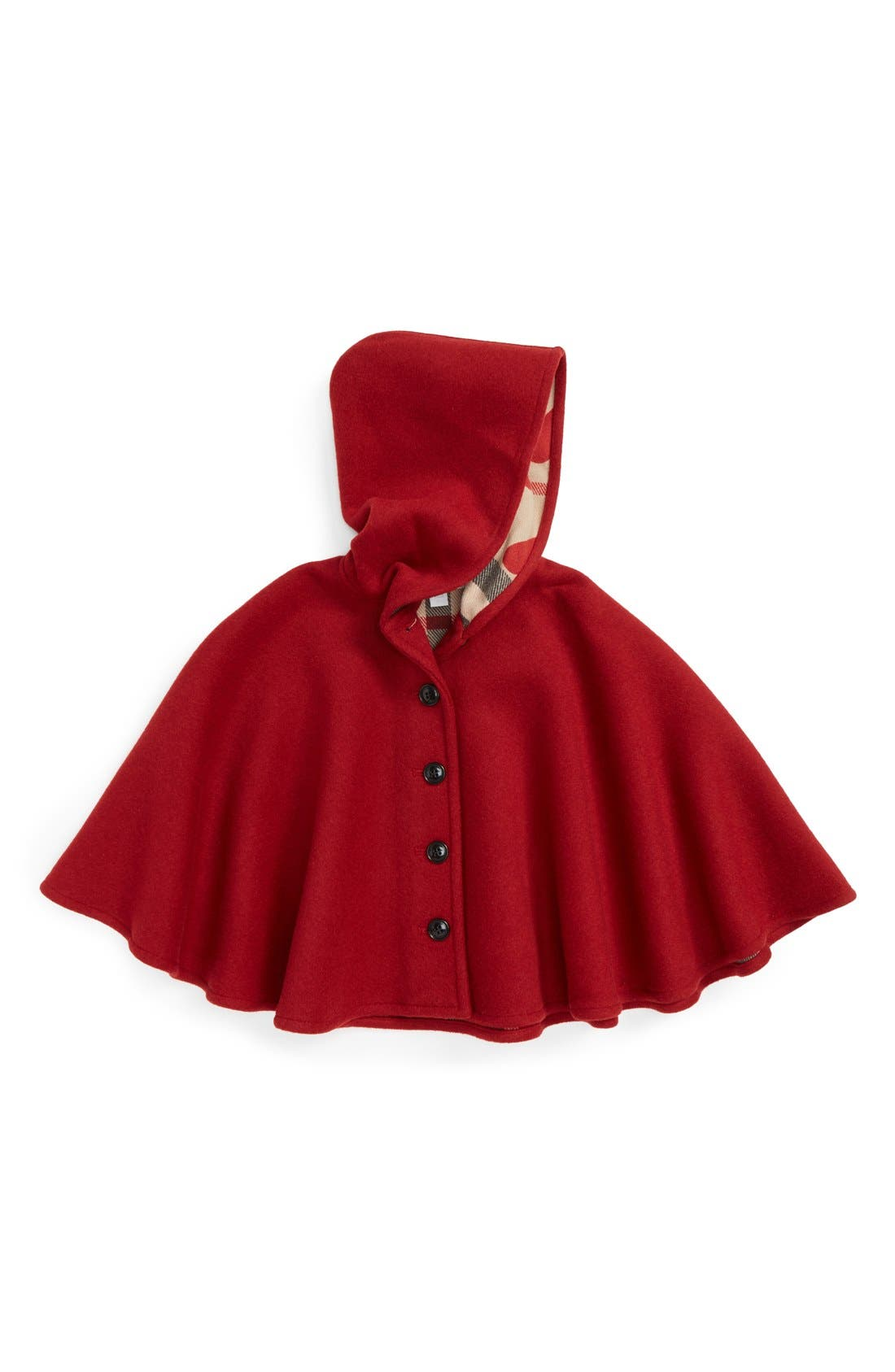 Main Image - Burberry 'Rosa' Hooded Wool Cape (Little Girls)