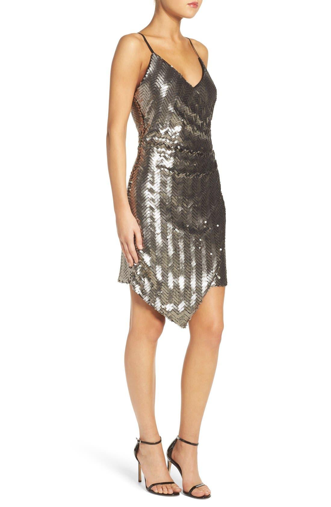 Alternate Image 3  - Adelyn Rae Asymmetrical Sequin Faux-Wrap Dress