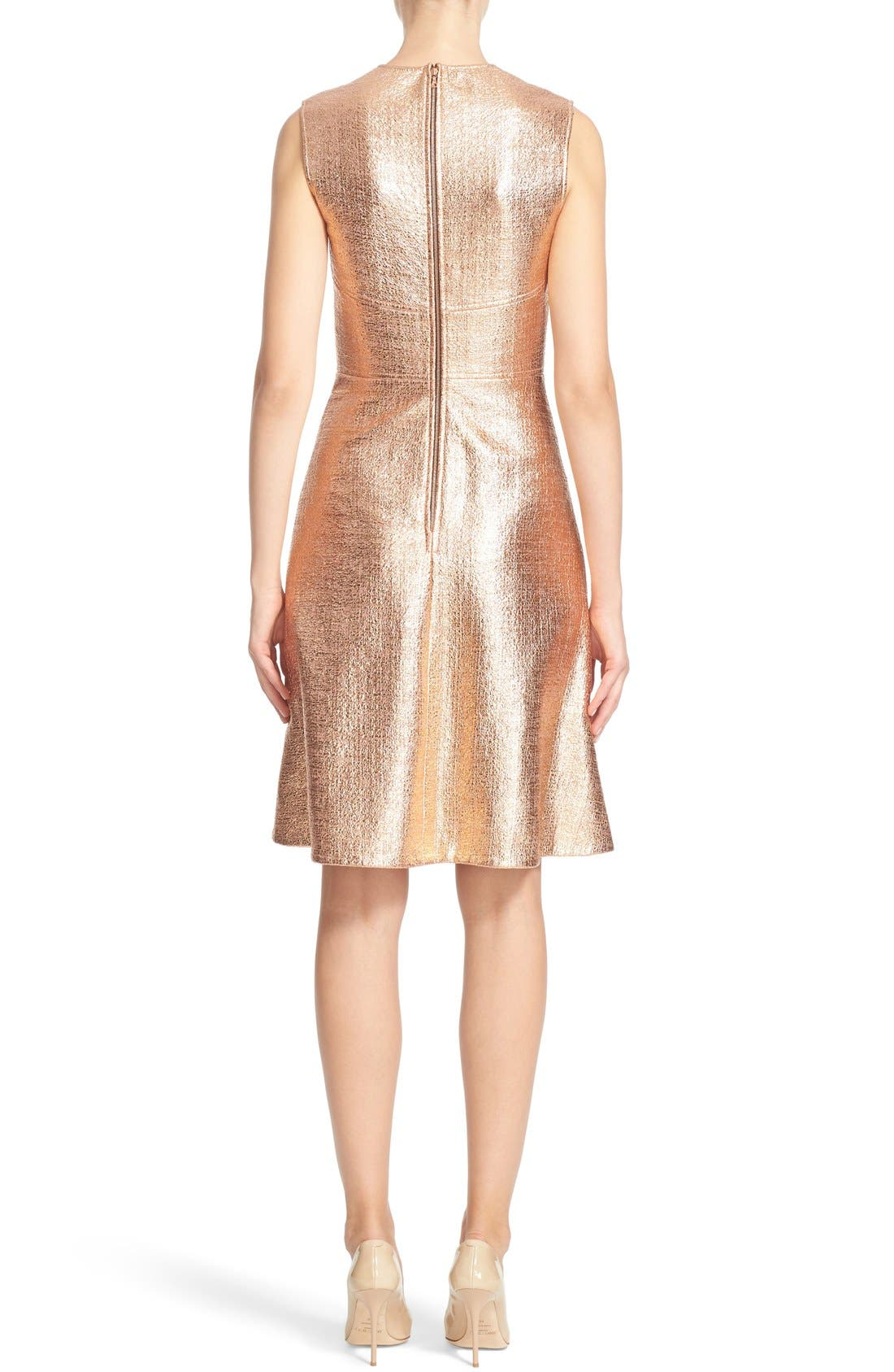 Alternate Image 2  - Lela Rose Coated Metallic Seamed A-Line Dress