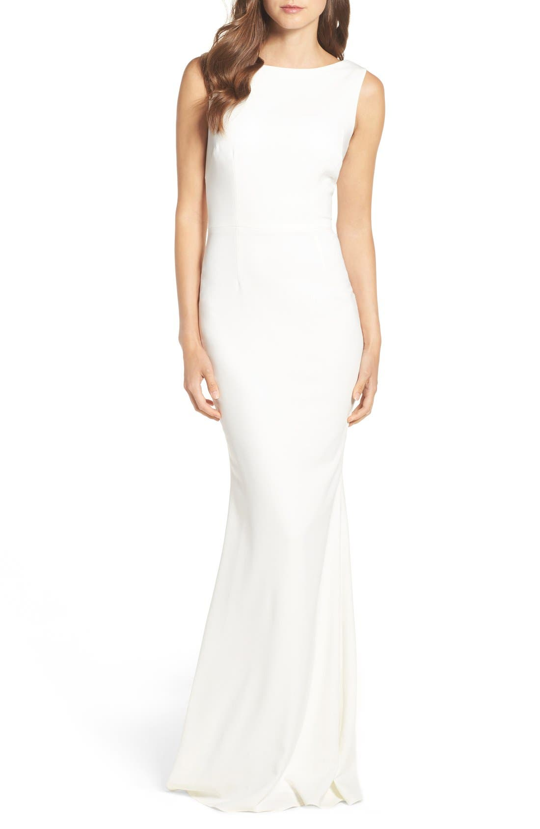 Alternate Image 1 Selected - Katie May Drape Back Crepe Gown