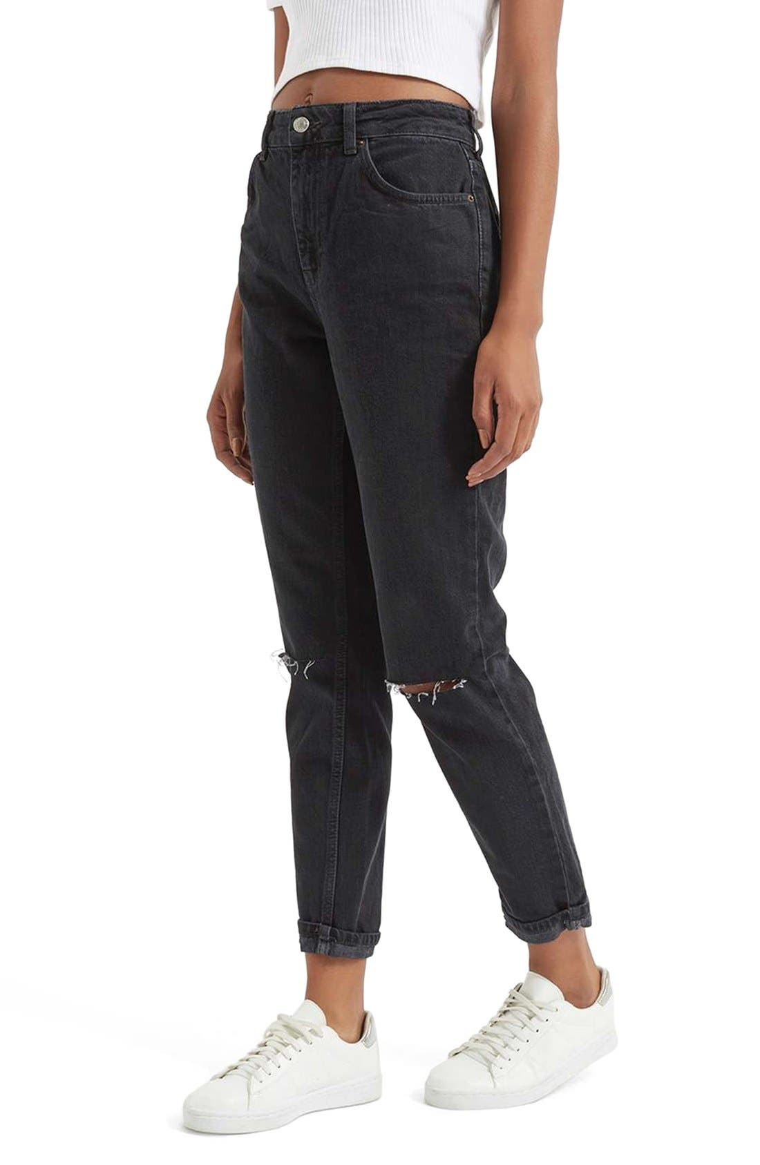 Alternate Image 4  - Topshop Moto Mom Washed Ripped Jeans