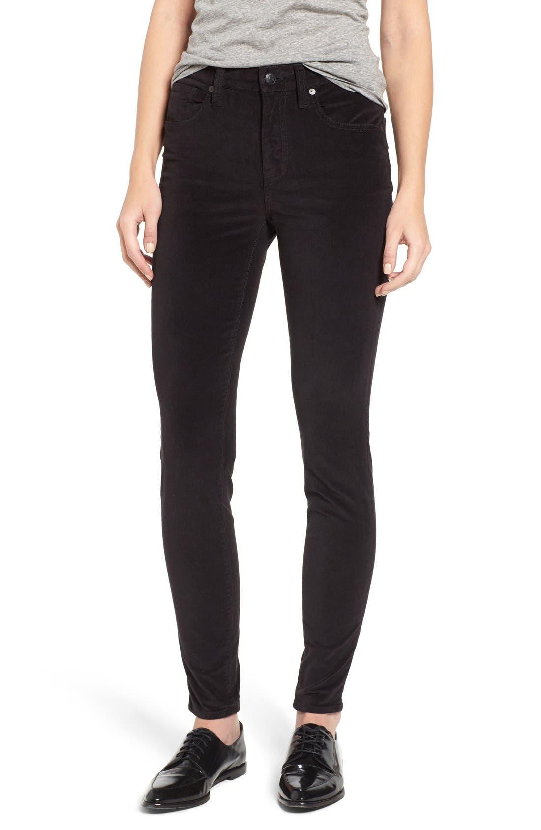 Main Image - Madewell High Rise Velvet Skinny Jeans