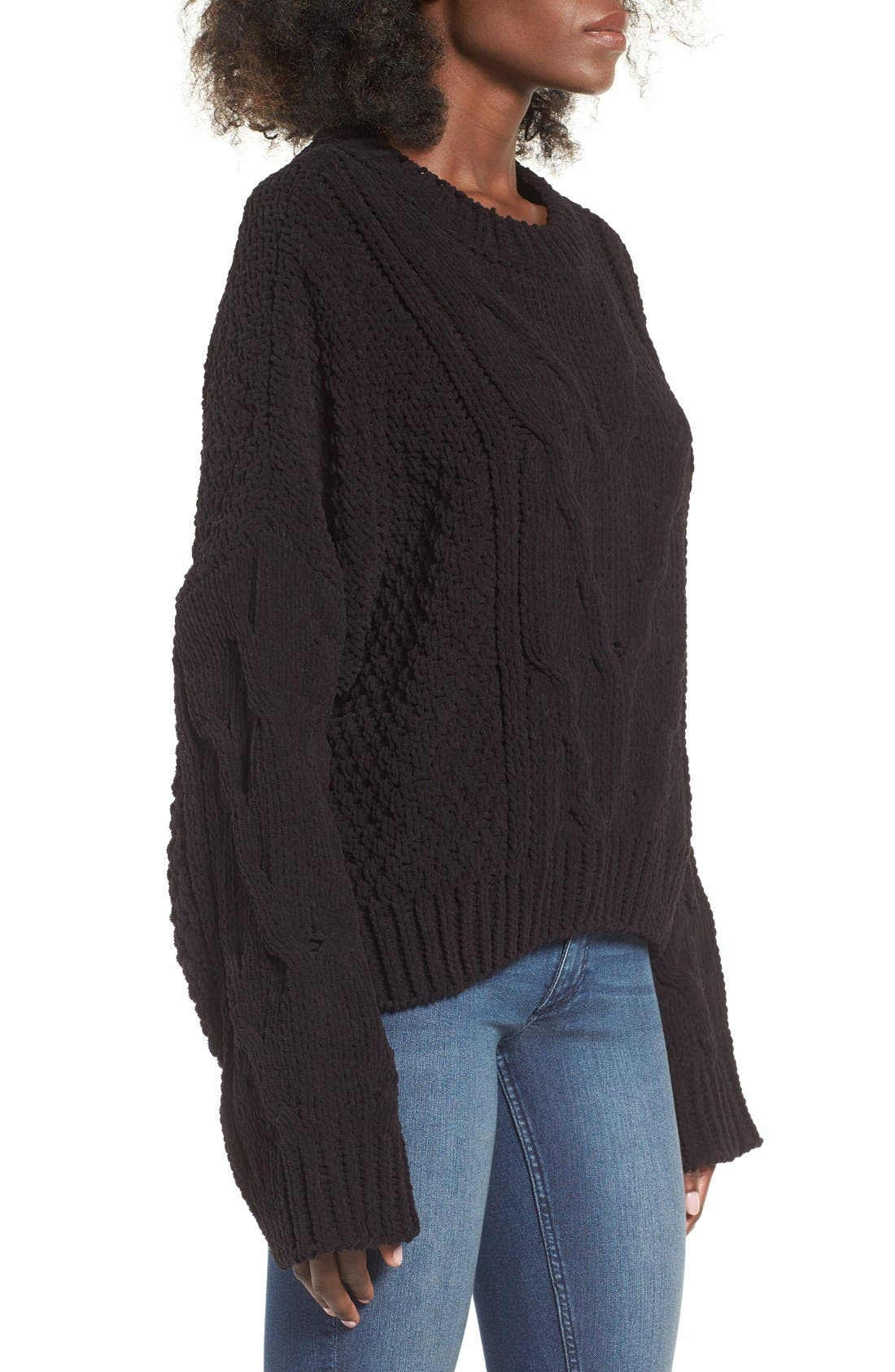 Alternate Image 3  - J.O.A. Boxy Cable Knit Sweater