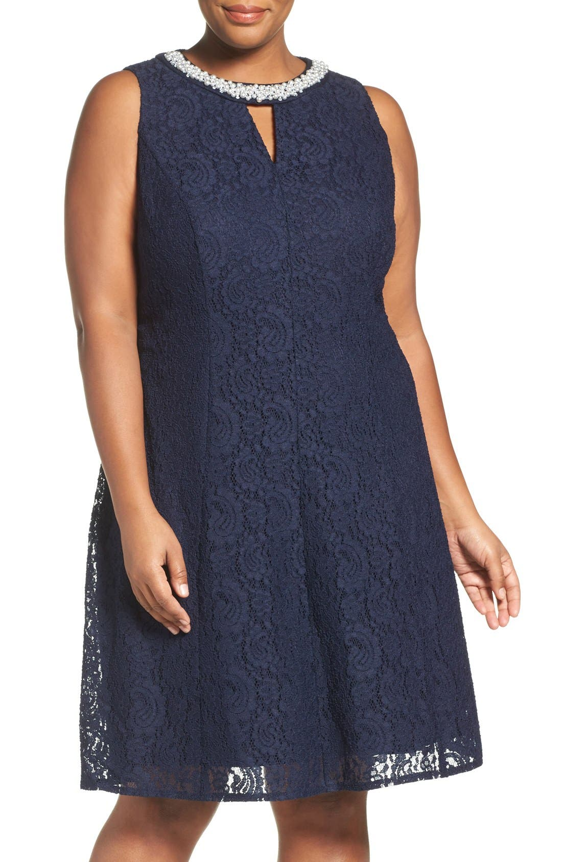 LONDON TIMES Beaded Fit & Flare Lace Dress